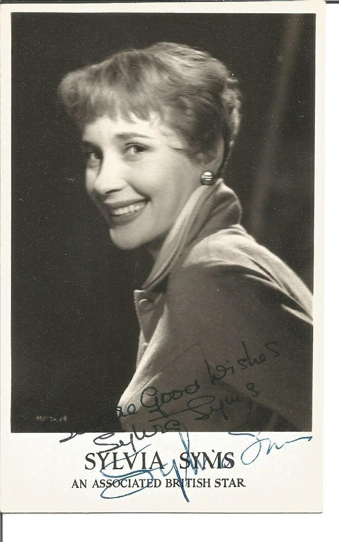 Sylvia Syms signed 6x4 black and white photo. Good