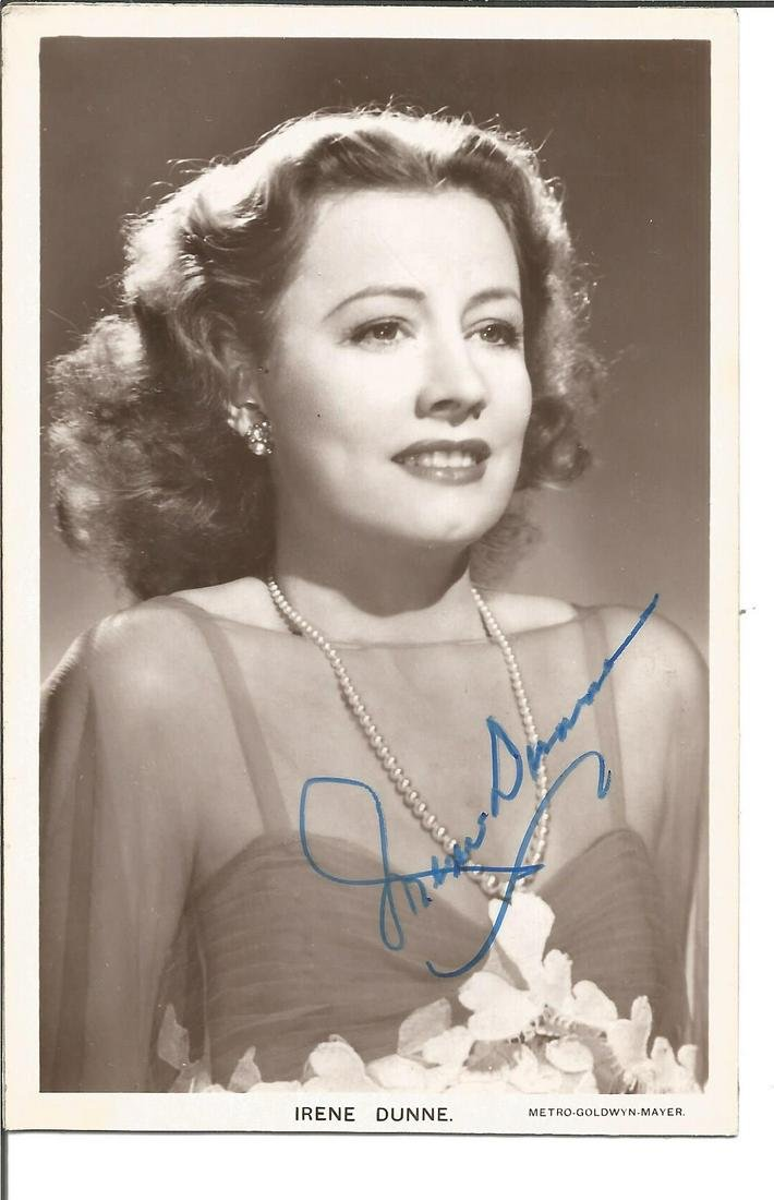 Irene Dunne signed 6x4 vintage photo. Good Condition.