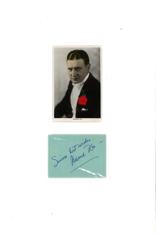 Richard Dix signature piece mounted below vintage