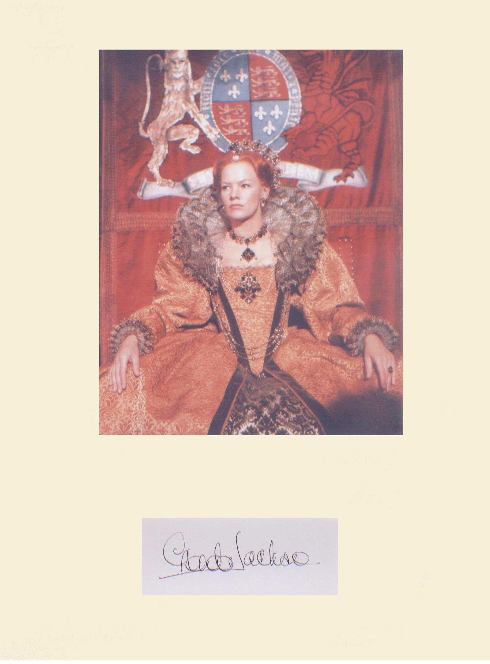 Glenda Jackson. Signature mounted with picture as