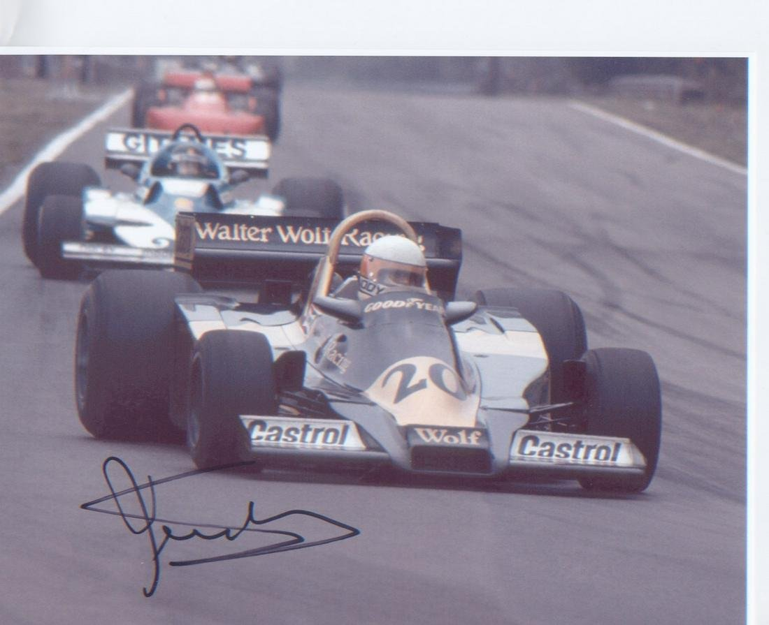 Jody Scheckter signed 10 x 8 inch Motor Racing photo