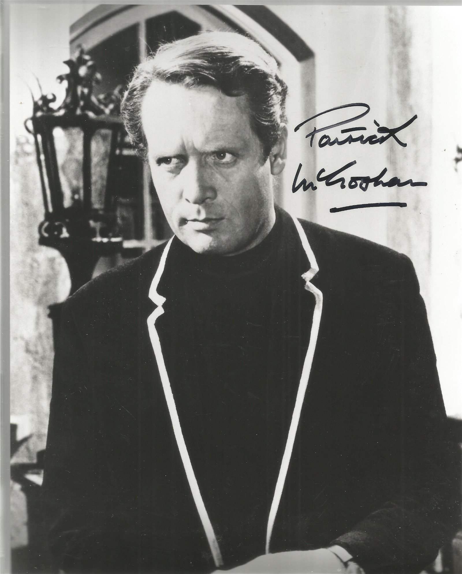 Patrick McGoohan signed 10x8 black and white photo from