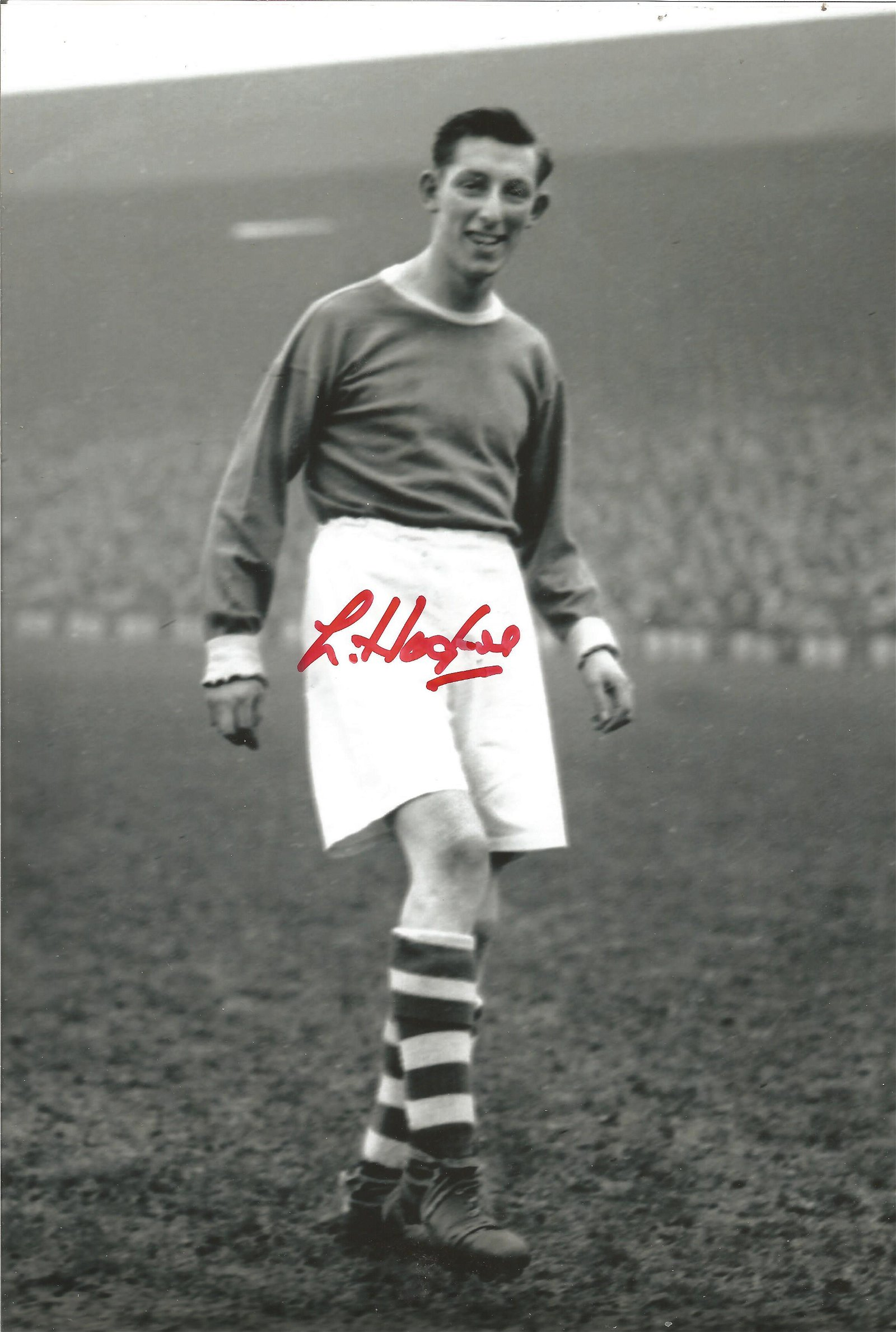 Lawrie Hughes Liverpool Signed 12 x 8 inch football