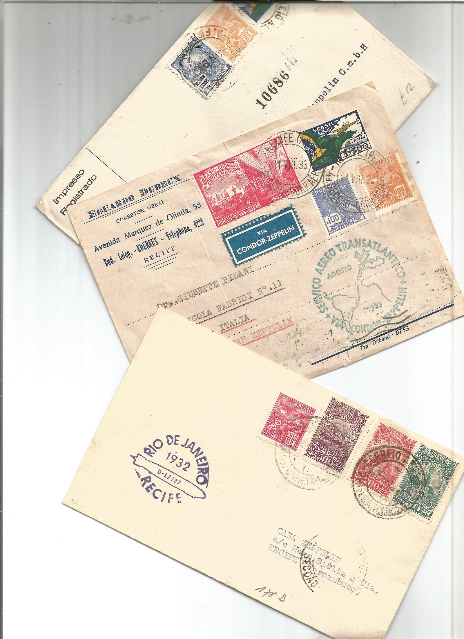 Cover collection from Brazil. 3 included. Dated 1932