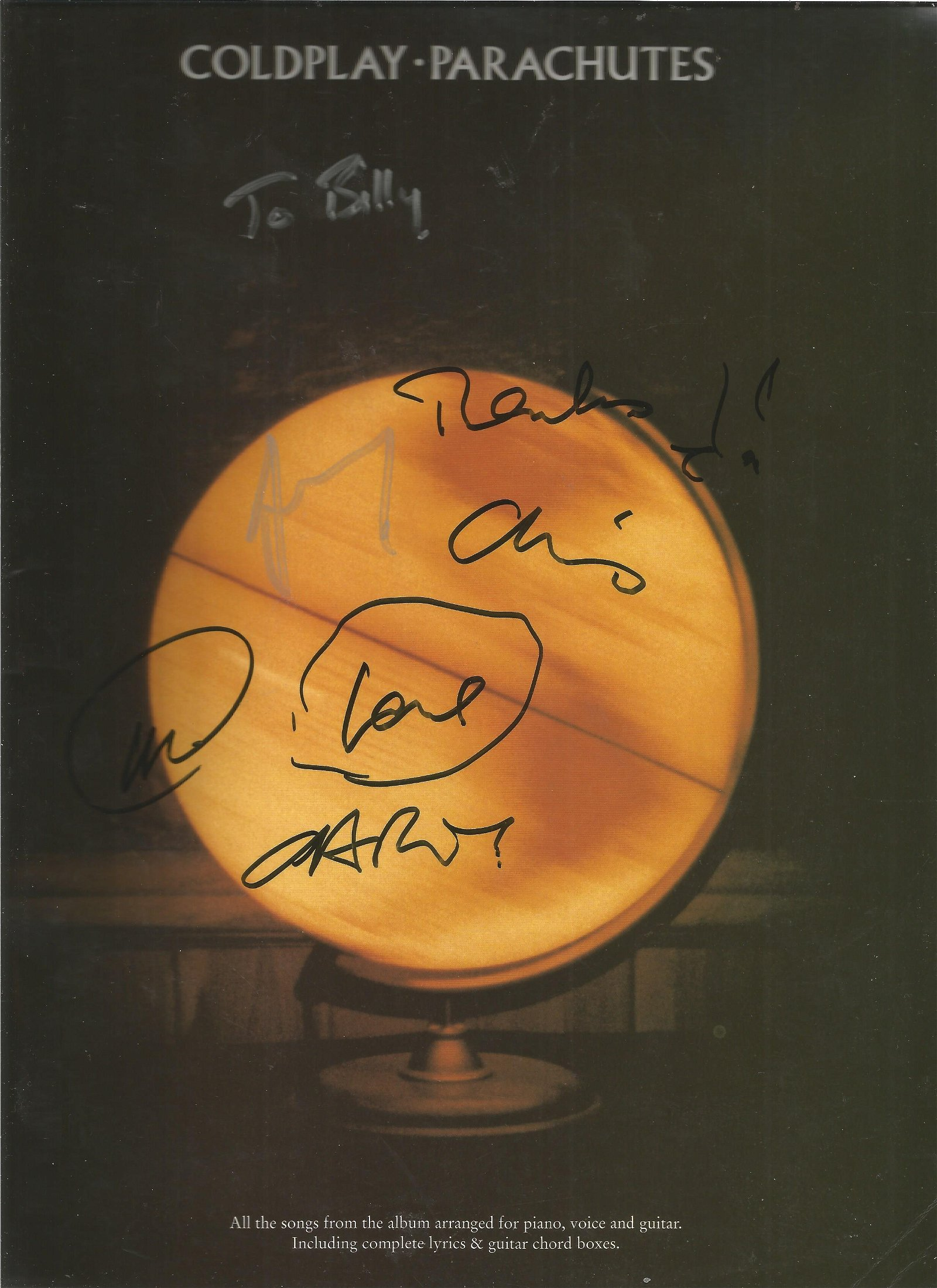 Coldplay signed music book, Signed by Chris Martin and