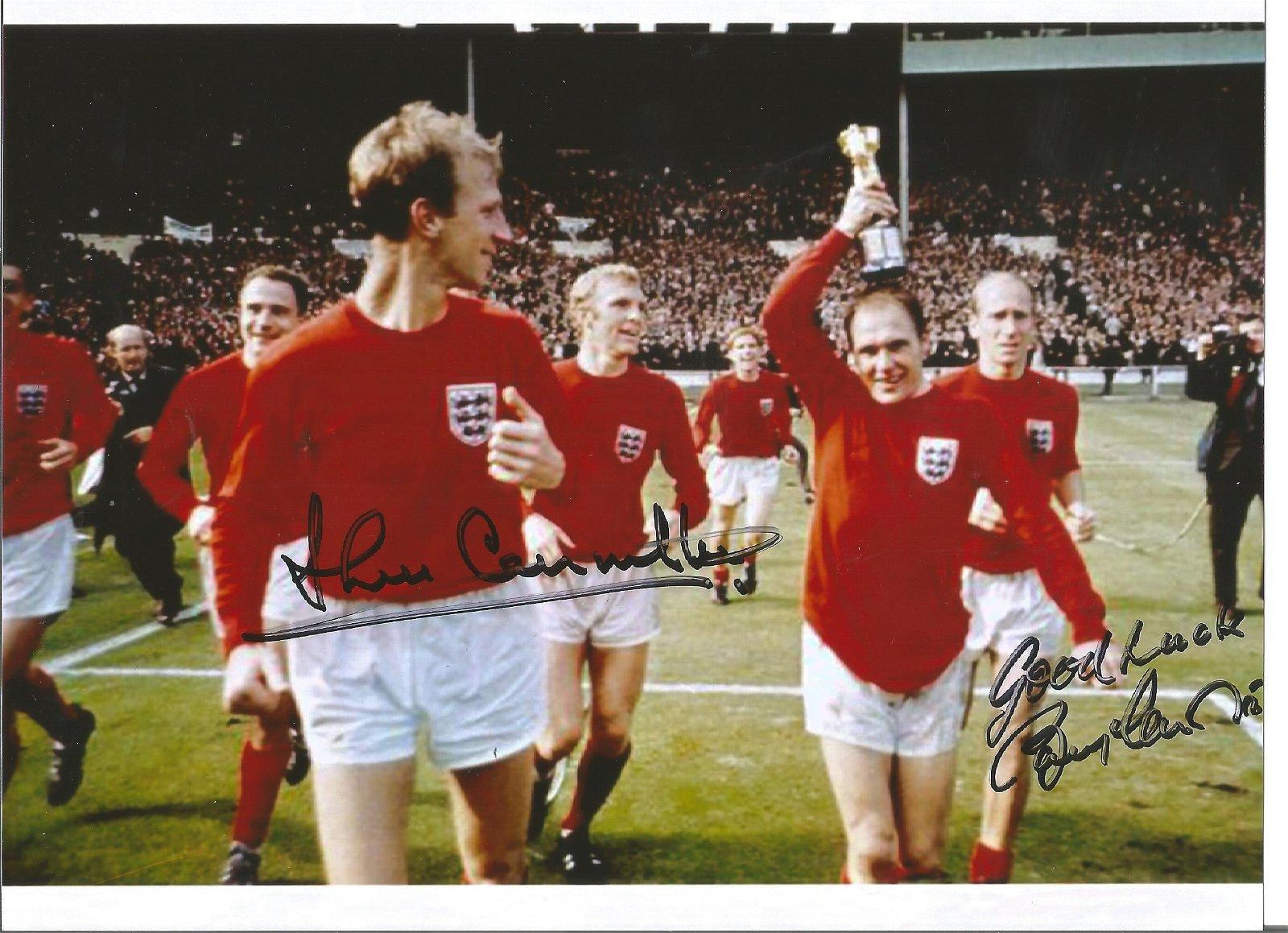 Jack Charlton and Bobby Charlton signed 8x6 colour