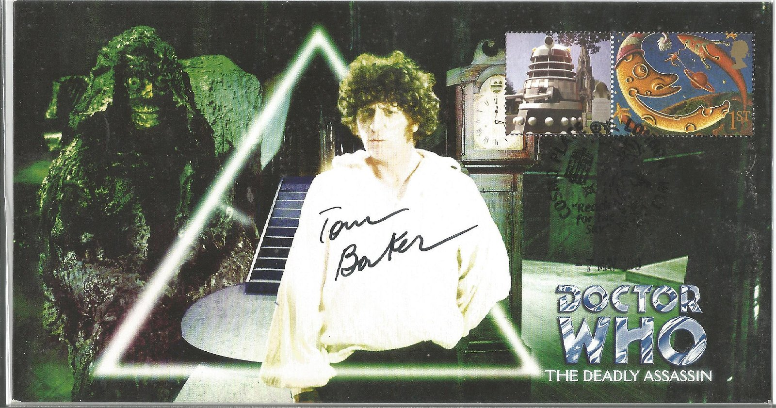 Doctor Who The Deadly Assassin FDC signed by the fourth
