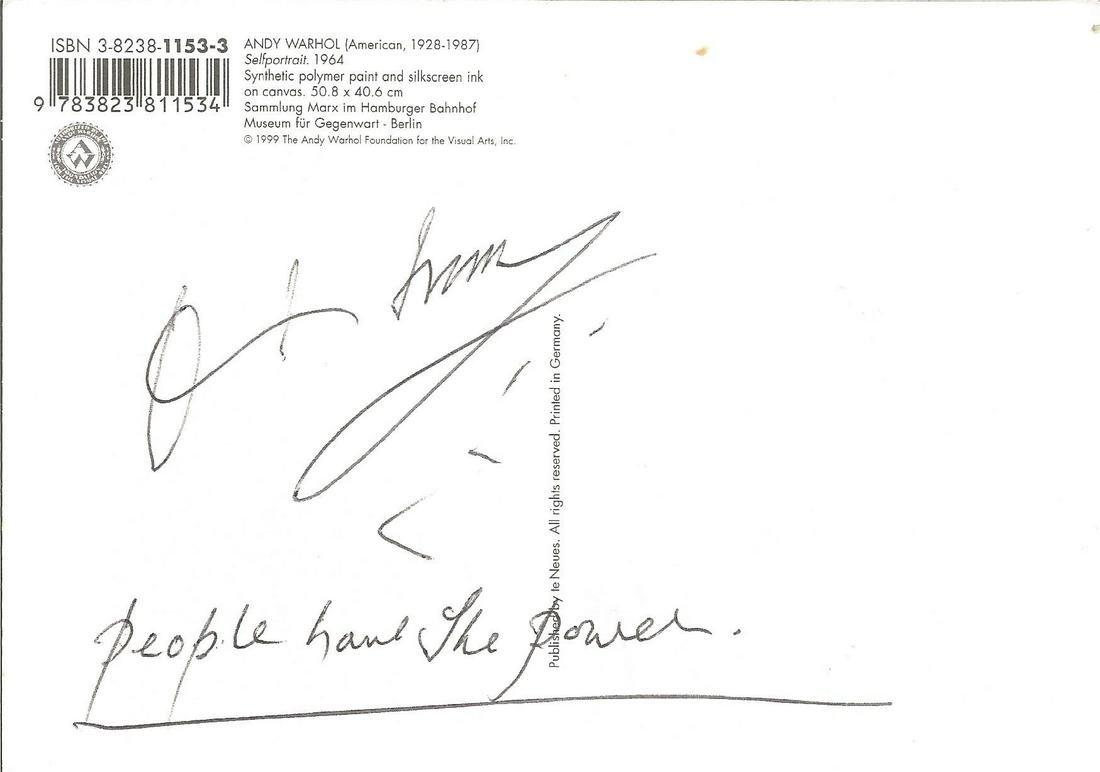 Patti Smith signed Andy Warhol postcard . Good