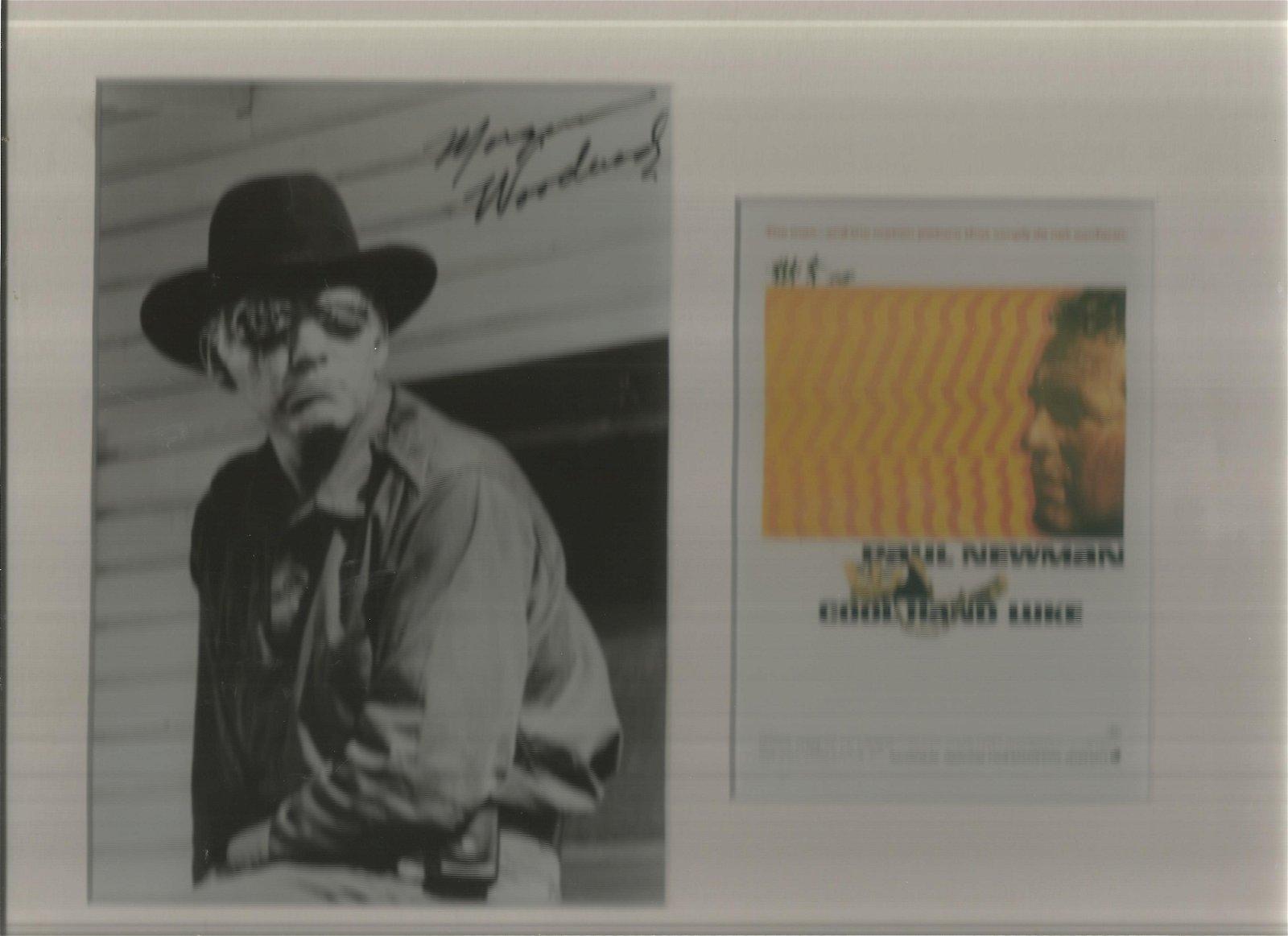 Morgan Woodward signed black and white photo, mounted