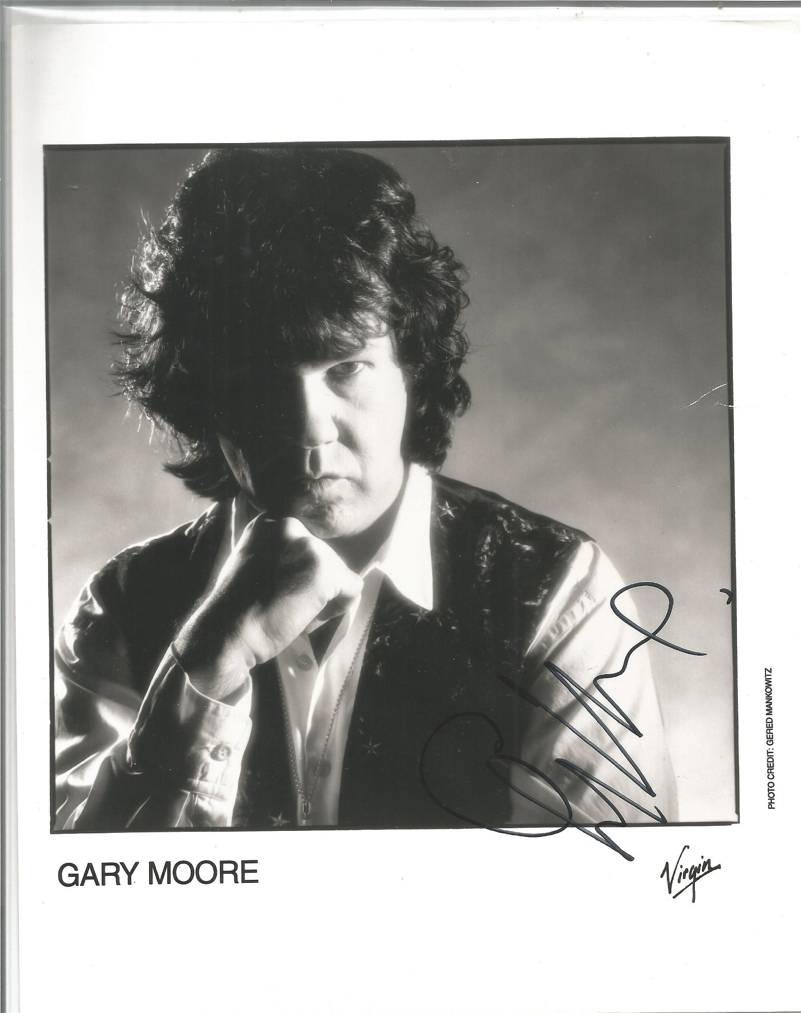 Gary Moore signed 10x8 black and white photo. Good