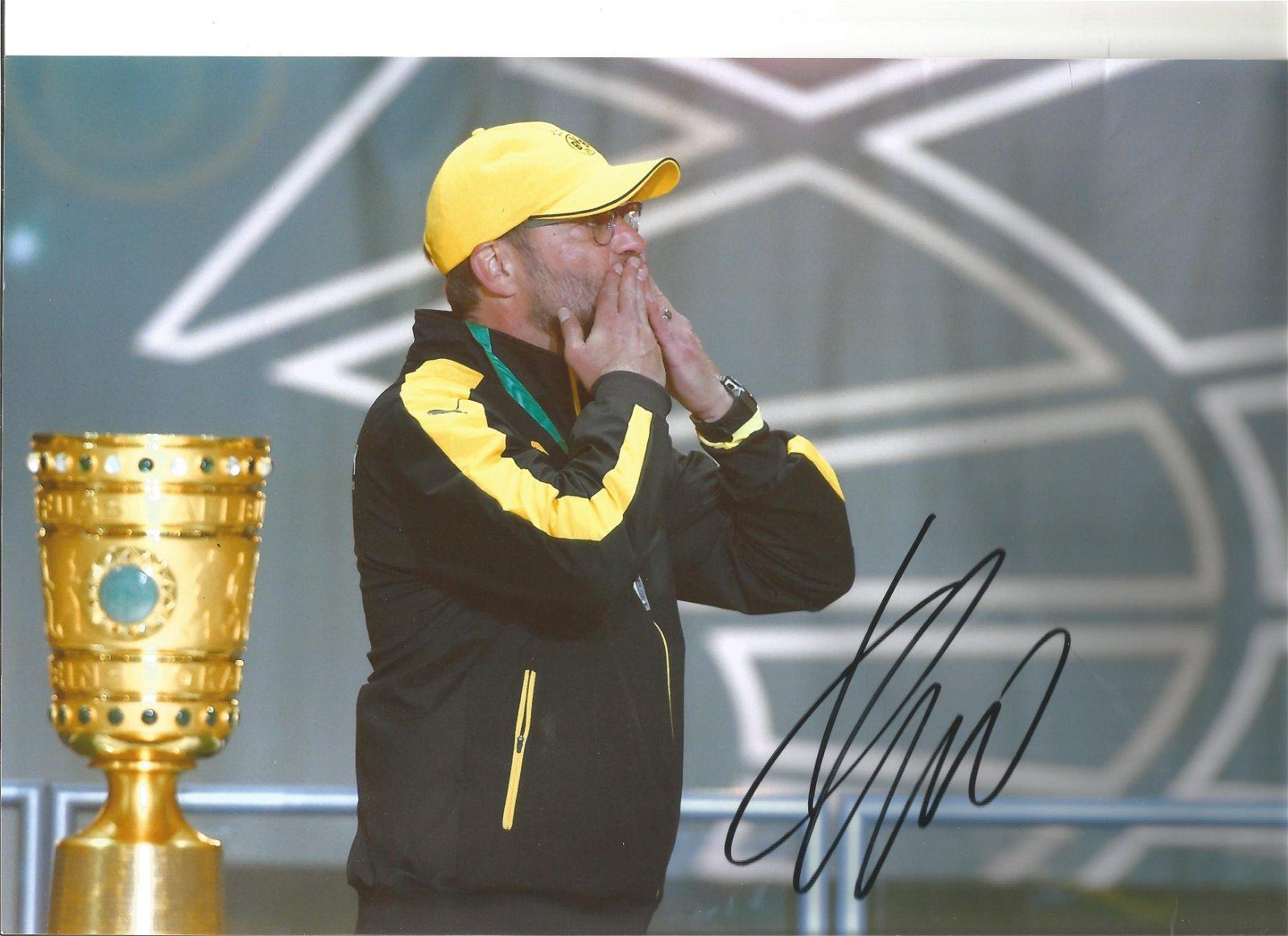 Jurgen Klopp signed 12x8 colour Dortmund photo. Good