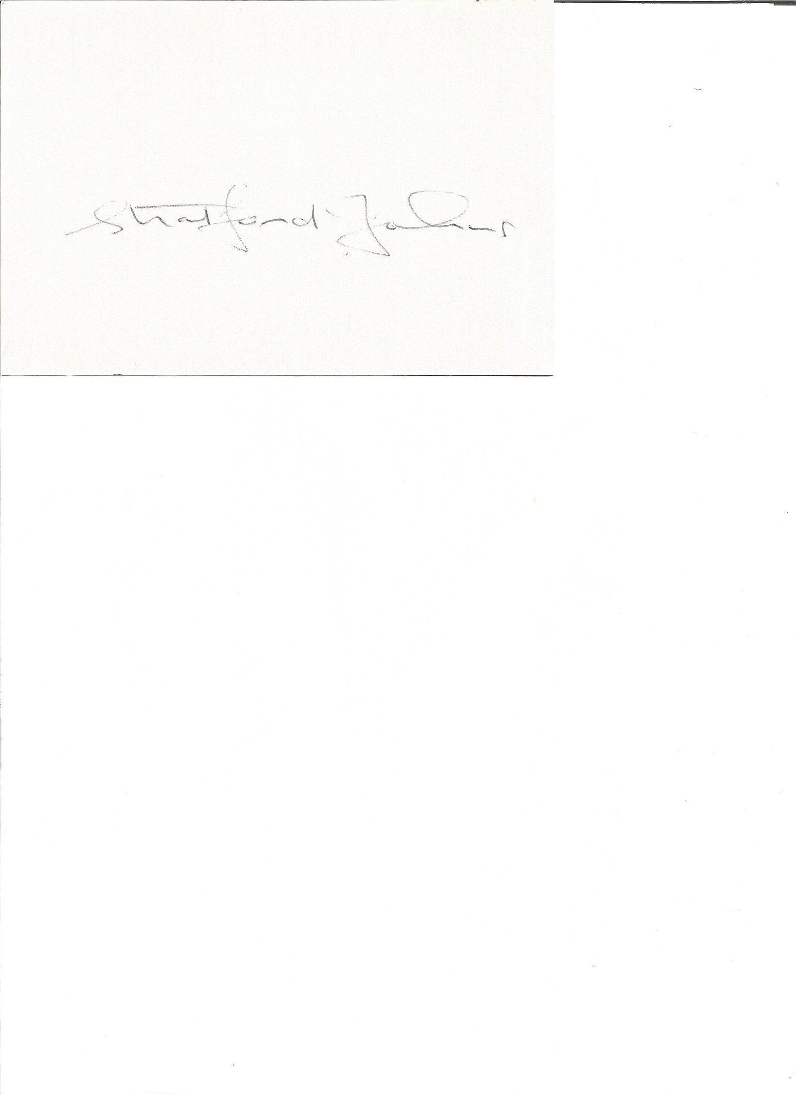 Stratford Johns signed 6x4 white card. Good Condition.