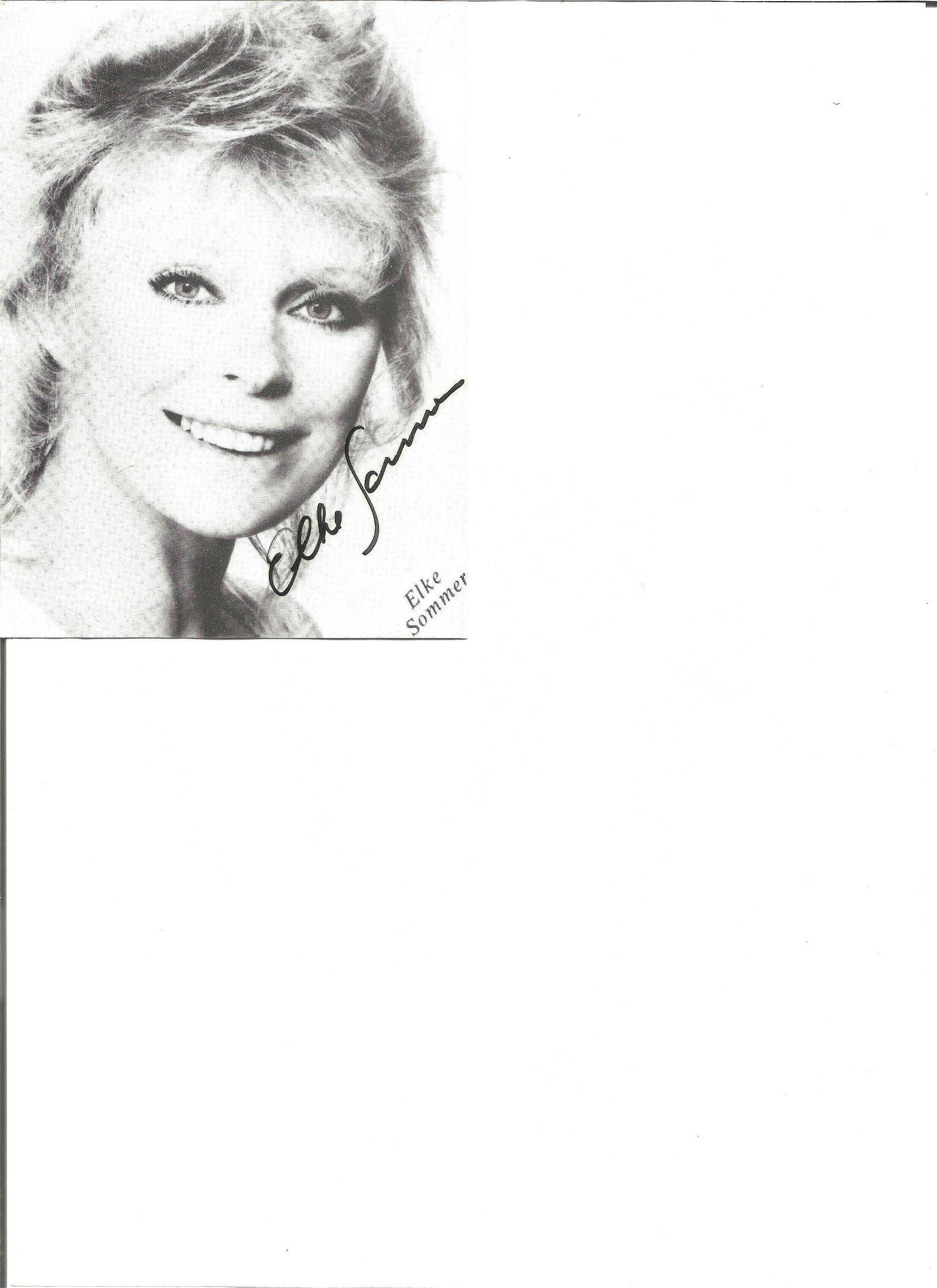 Elke Sommer signed 6x4 black and white photo. Good