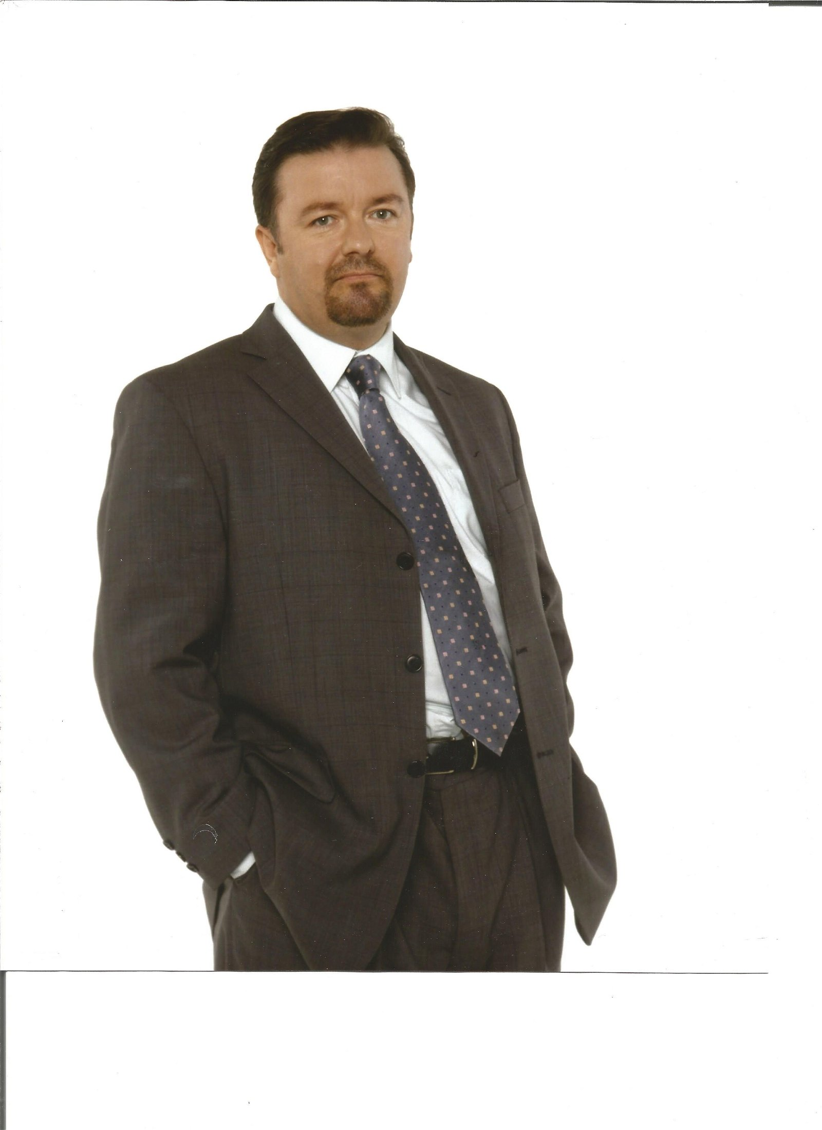 Ricky Gervais signed white card with 10x8 colour photo.