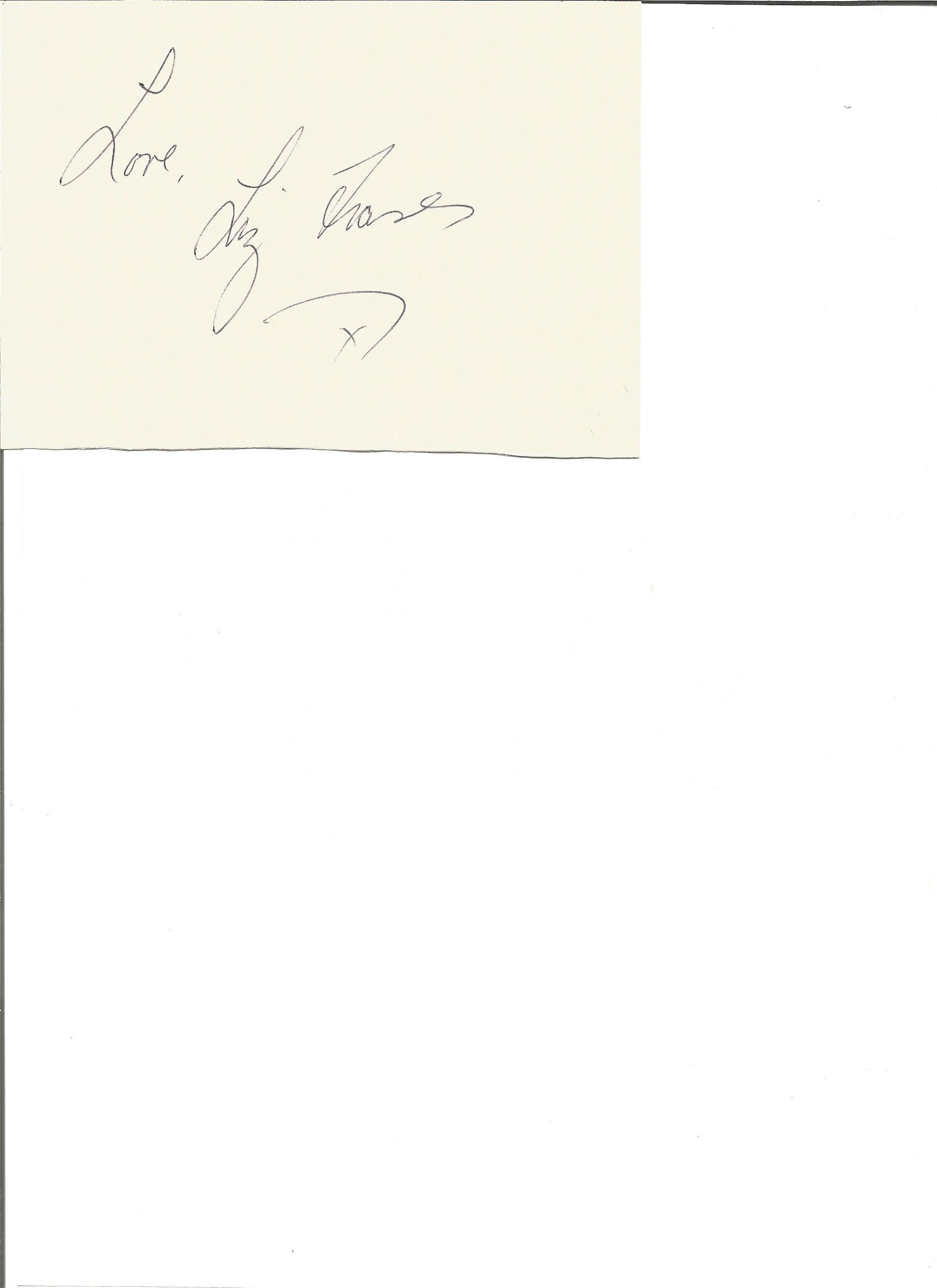 Liz Fraser signed 6x4 white card with 10x8 black and