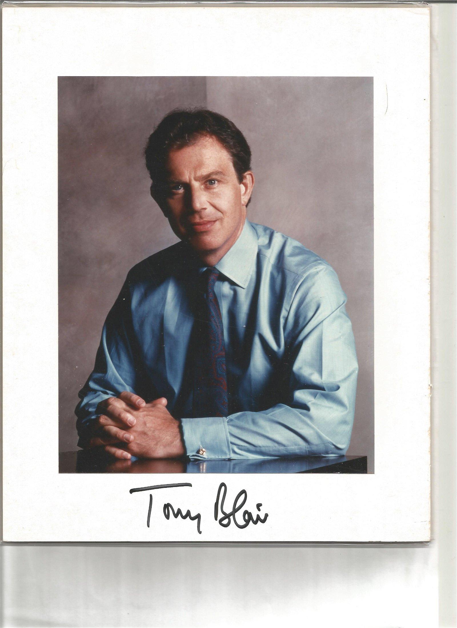 Tony Blair signature piece below colour photo. Good