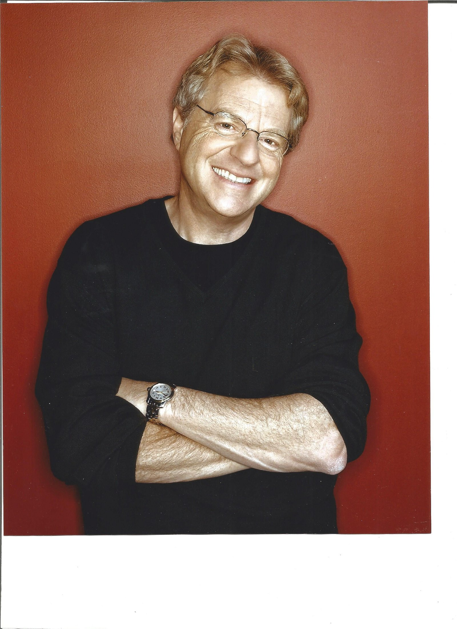 Jerry Springer signed white card with 10x8 colour