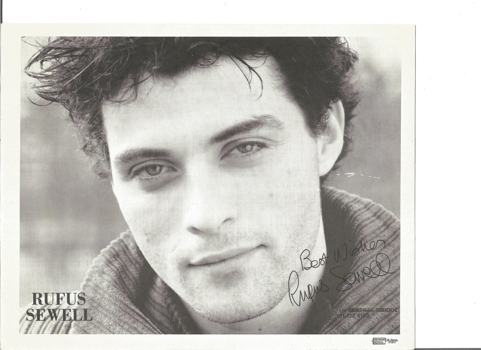 Rufus Sewell signed 10x8 black and white photo. Good