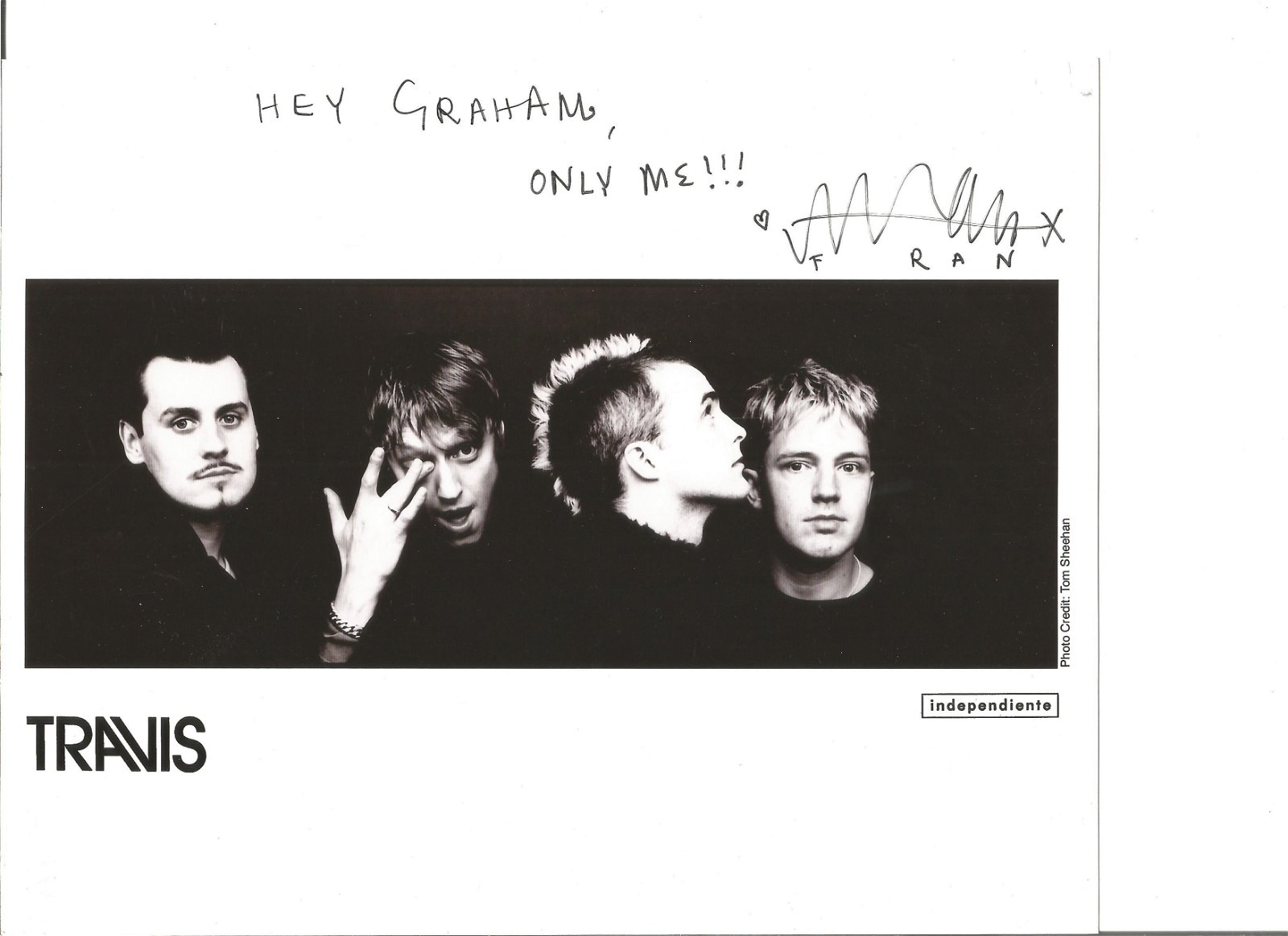 Fran Healy signed 10x8 black and white photo. Good