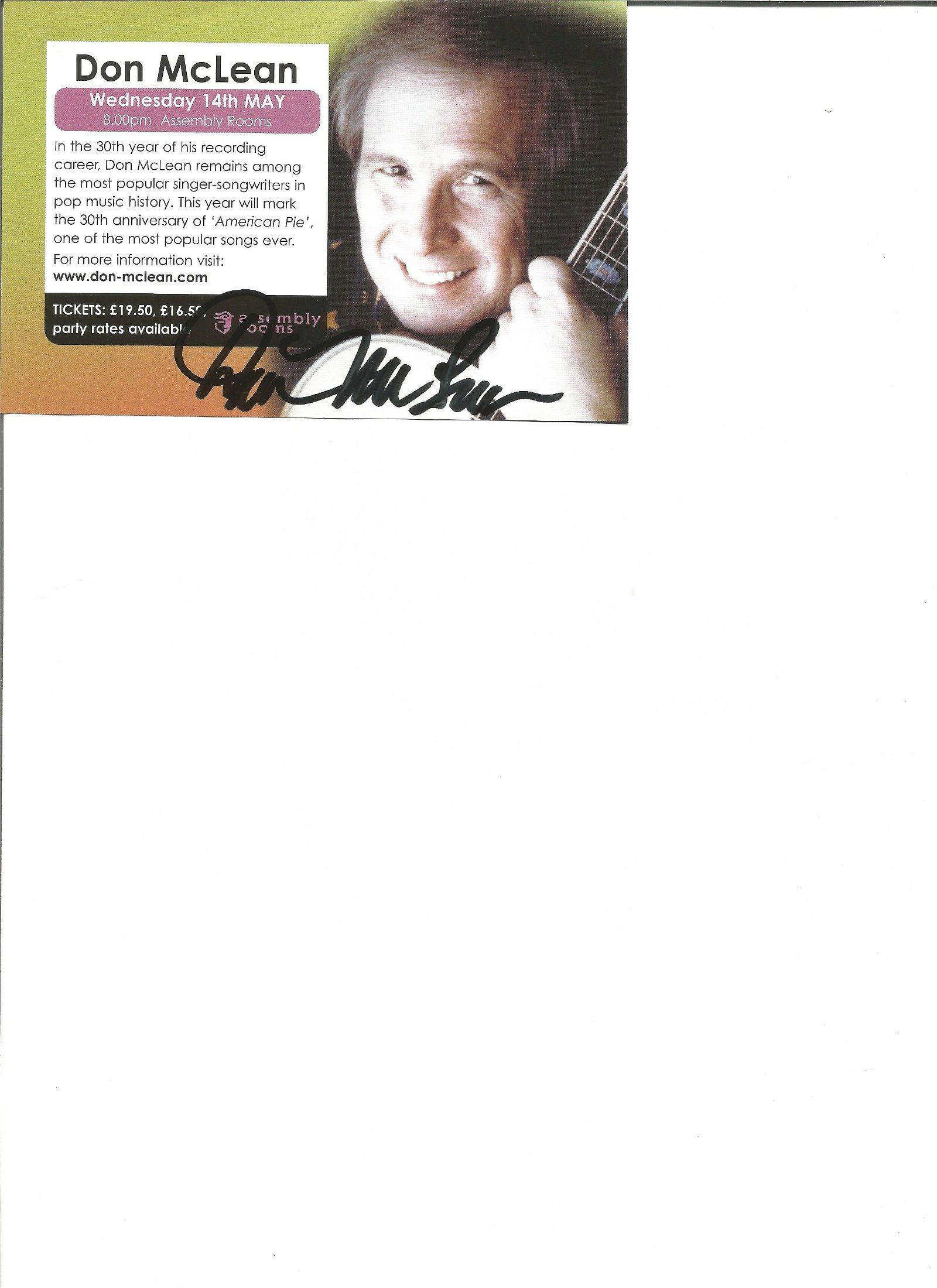 Don Mclean signed flyer. Good Condition. All signed