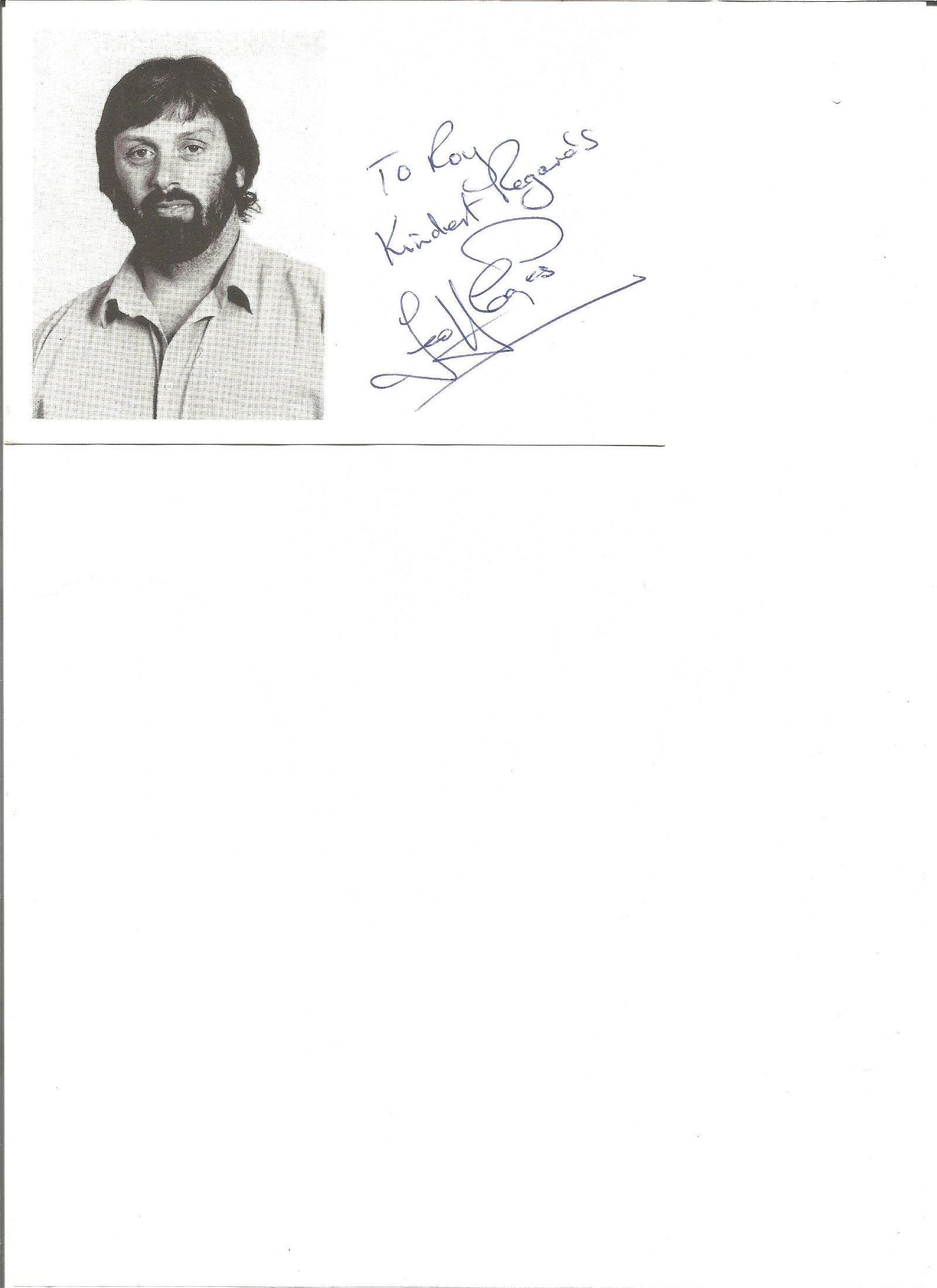 Geoff Capes signed 6x4 white card. Dedicated. Good
