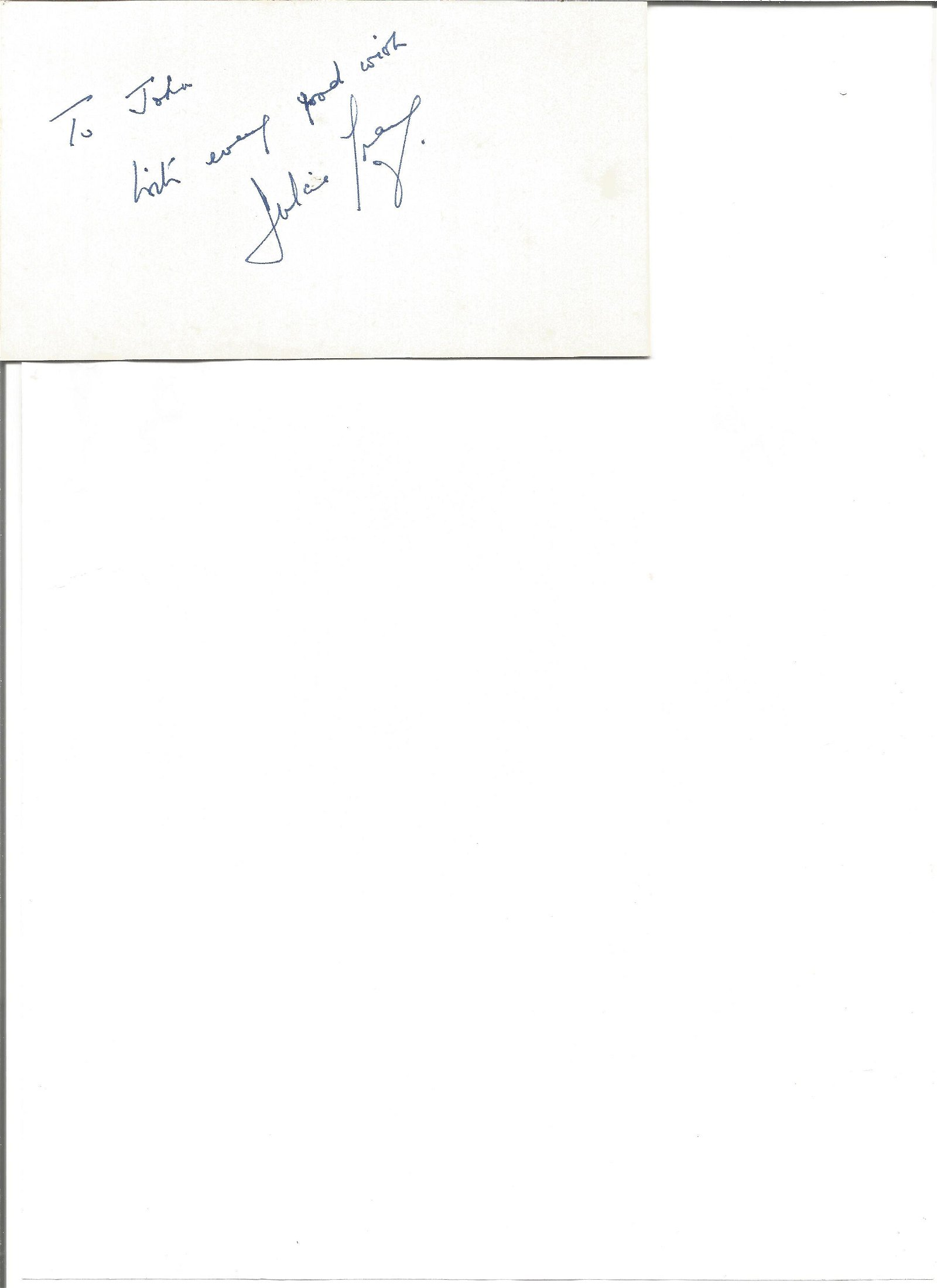 Dulcie Gray signed white card. Dedicated. Good