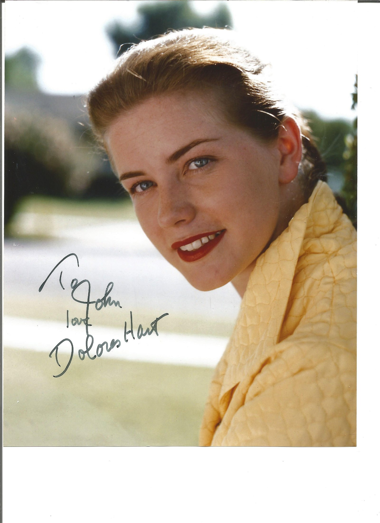 Dolores Hart signed 10x8 colour photo. Dedicated. Good