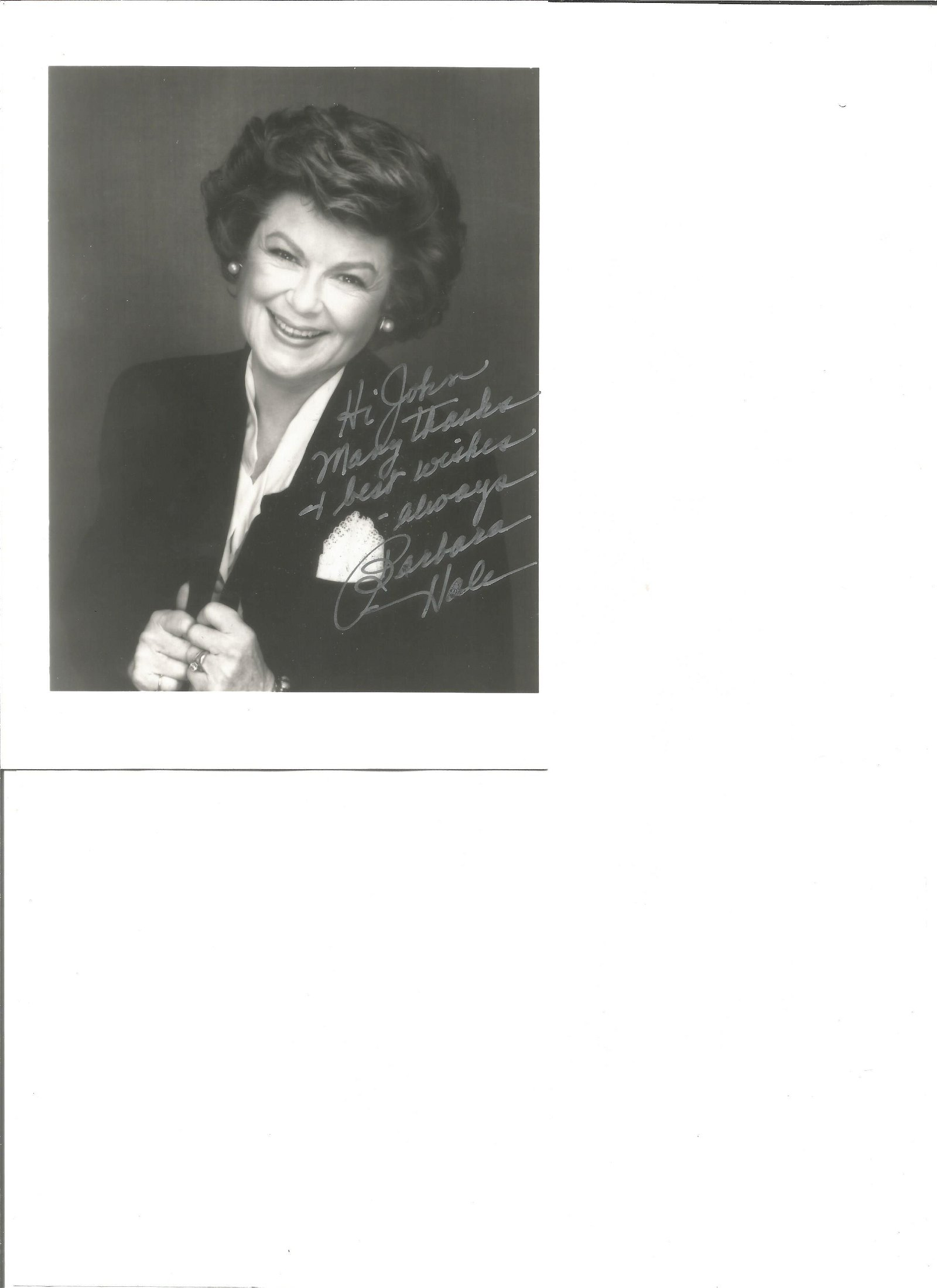 Barbara Hale signed 7x5 black and white photo.