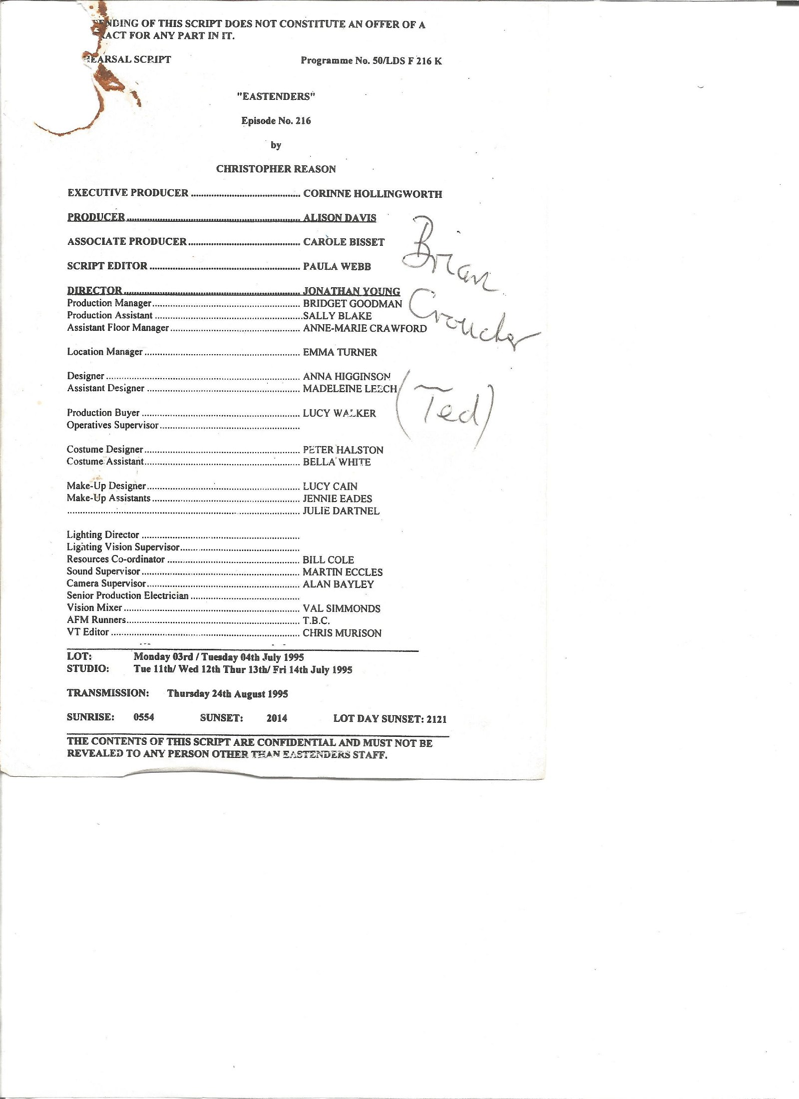Brian Croucher signed Eastenders script. Good