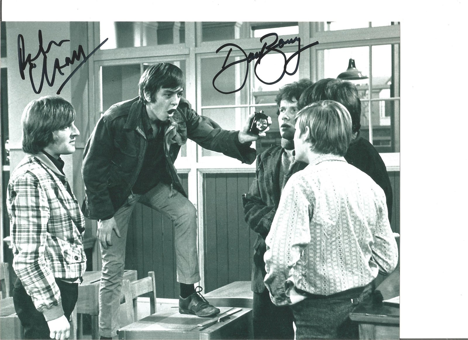 Peter Cleall and Dave Barry signed 10x8 black and white