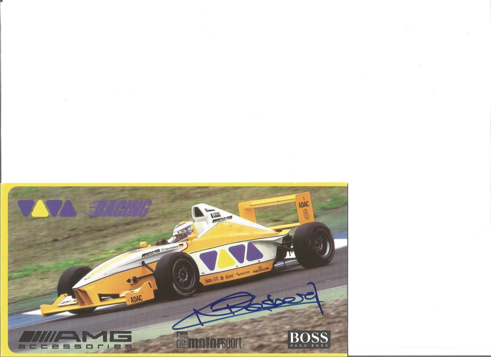 Nico Rosberg signed promotional card. Good Condition.
