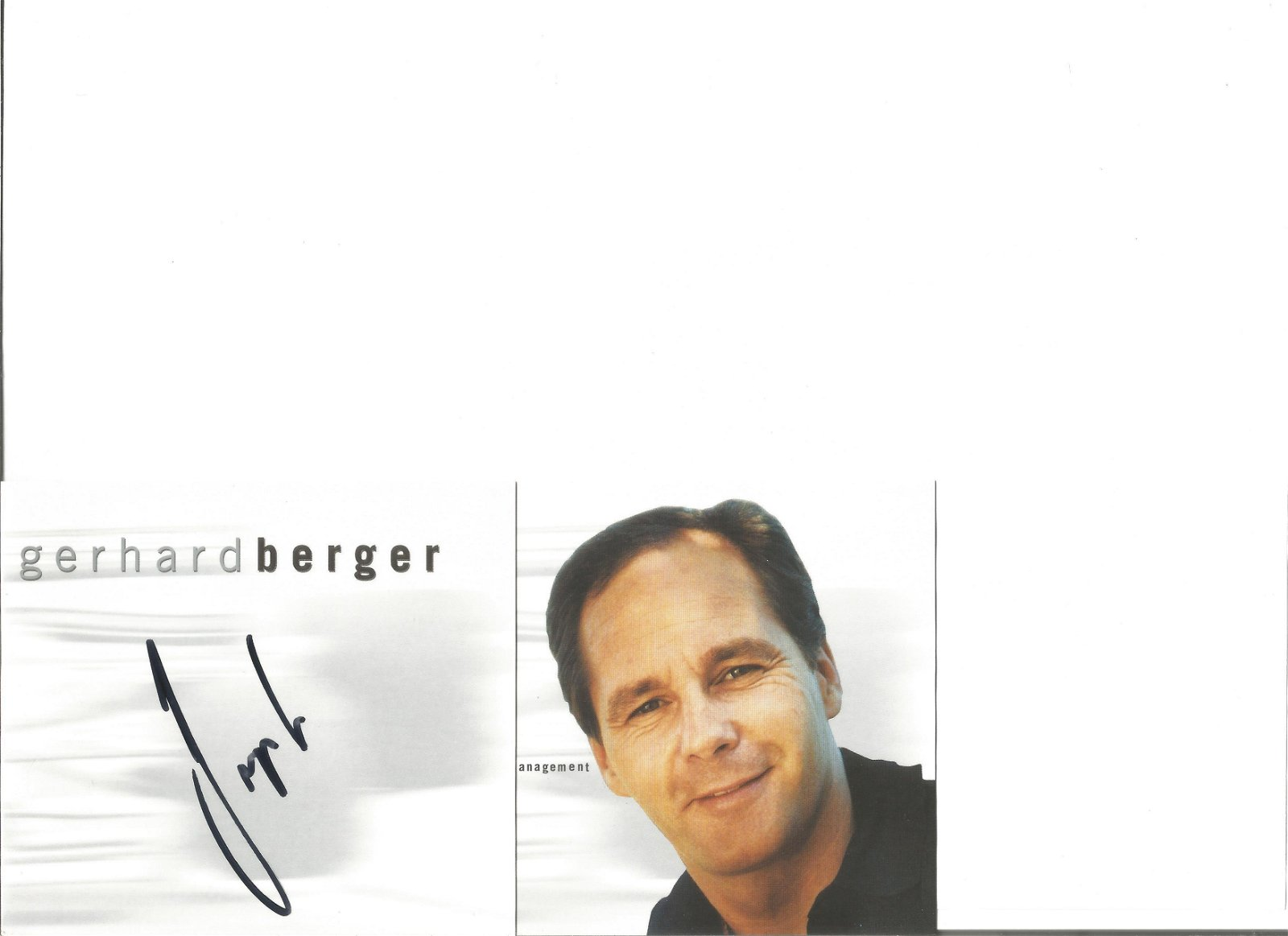 Gerhard Berger signed colour promotional card. Good