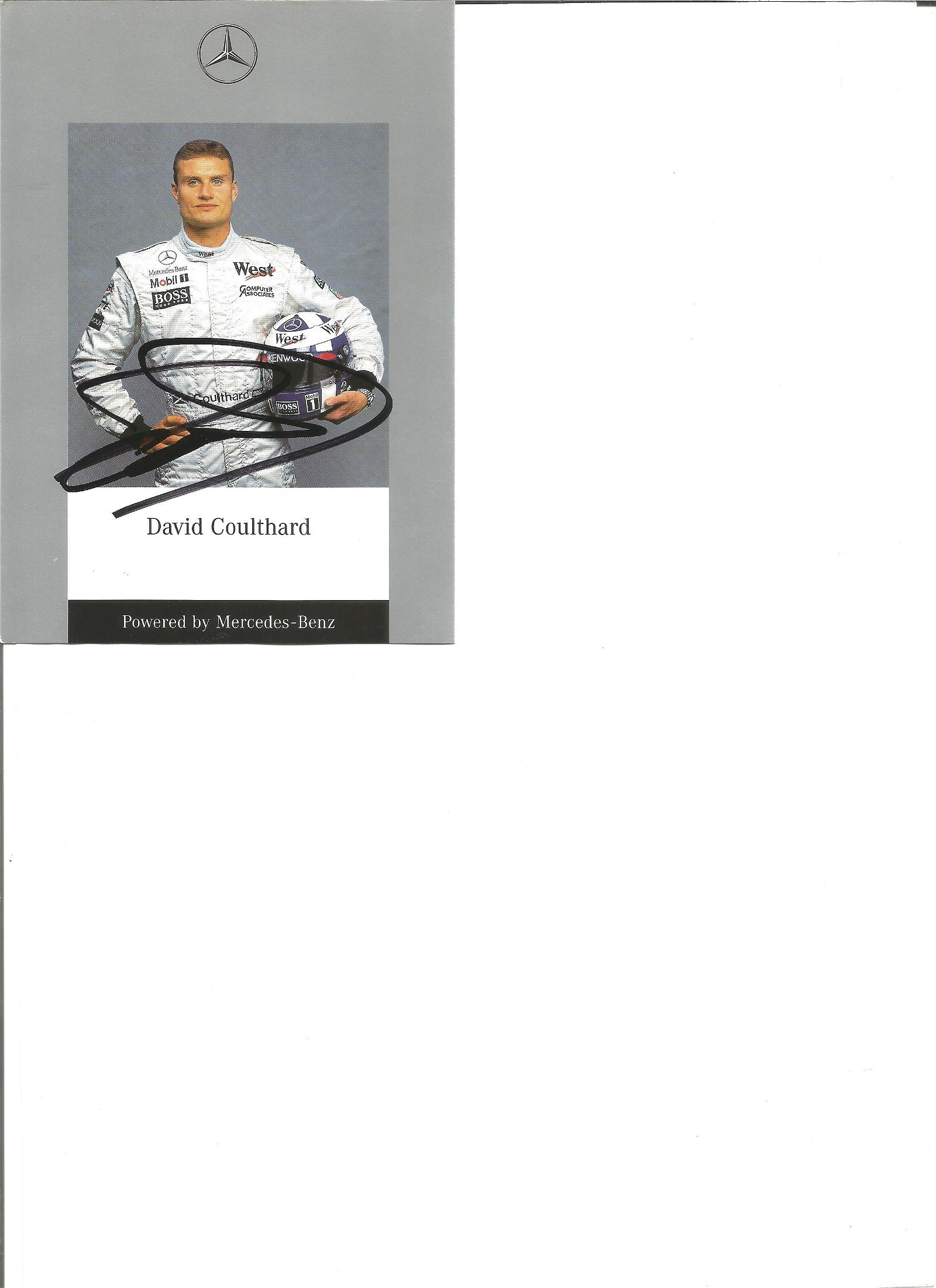 David Coulthard signed 6x4 colour promotional postcard.
