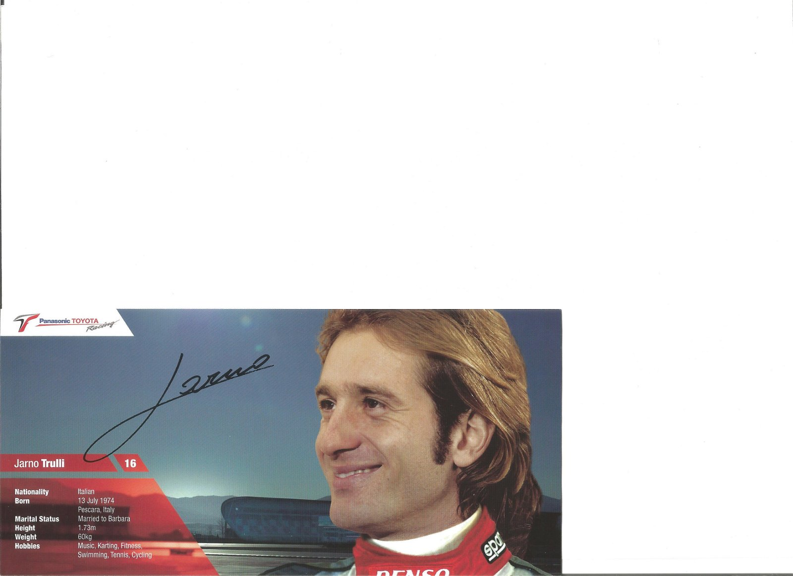 Jarno Trulli signed colour promotional card. Good