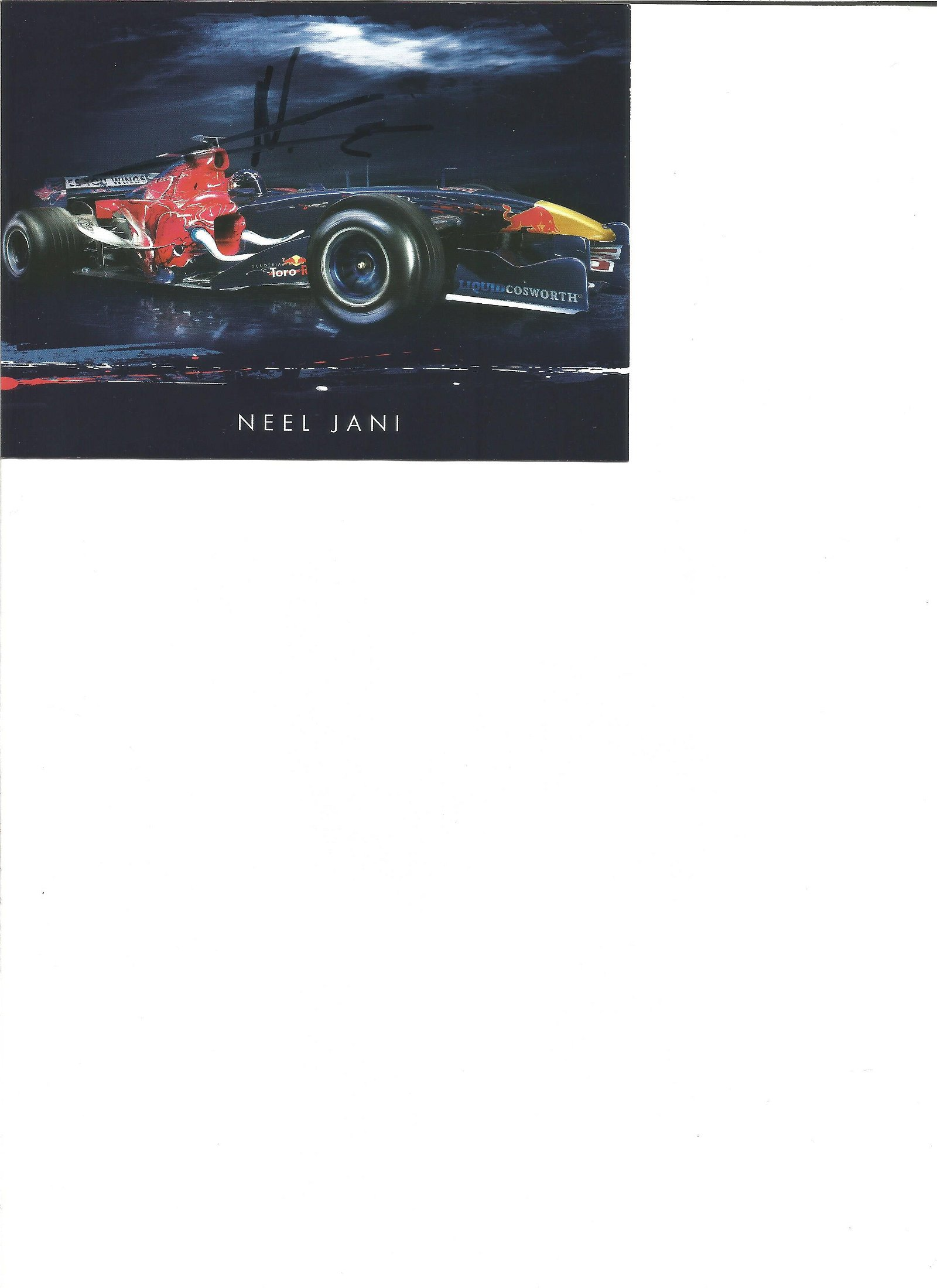 Neel Jani signed 6x4 colour promo card. Good Condition.