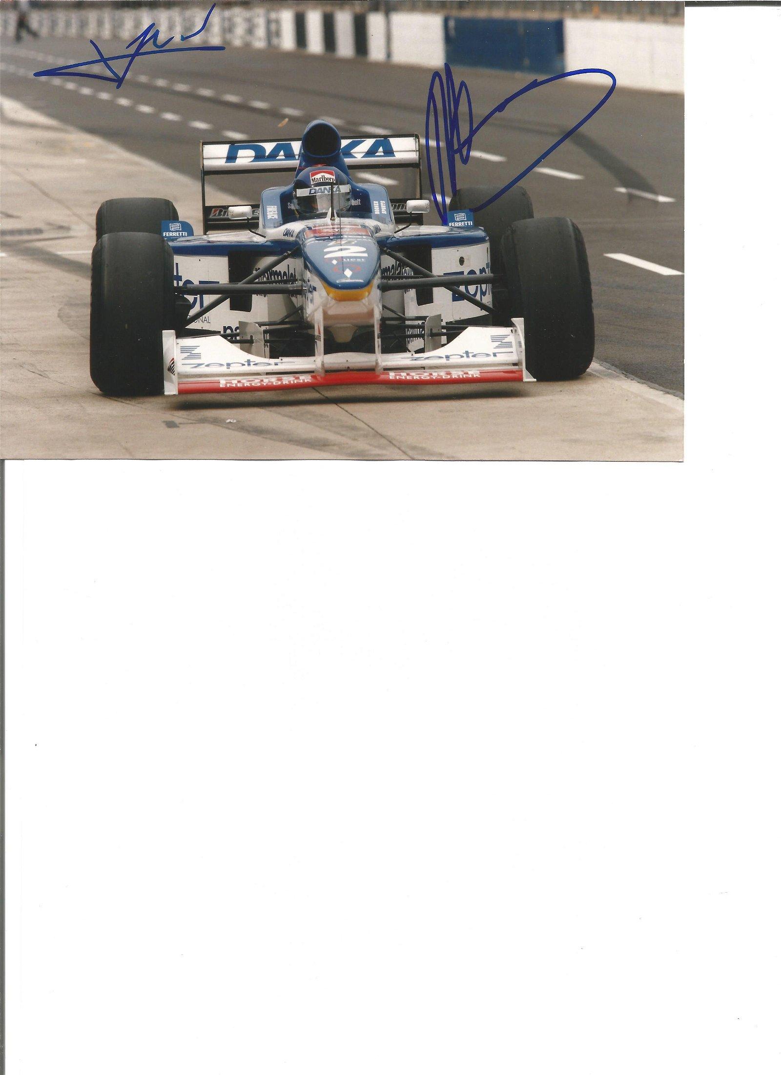 Jean Alesi and Pedro Diniz signed 7x5 colour photo.