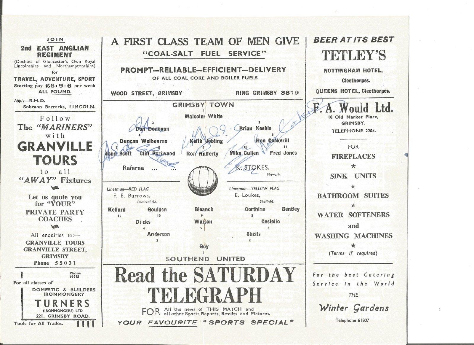 1961 Grimsby Town v Southend Utd programme. Signed by 6