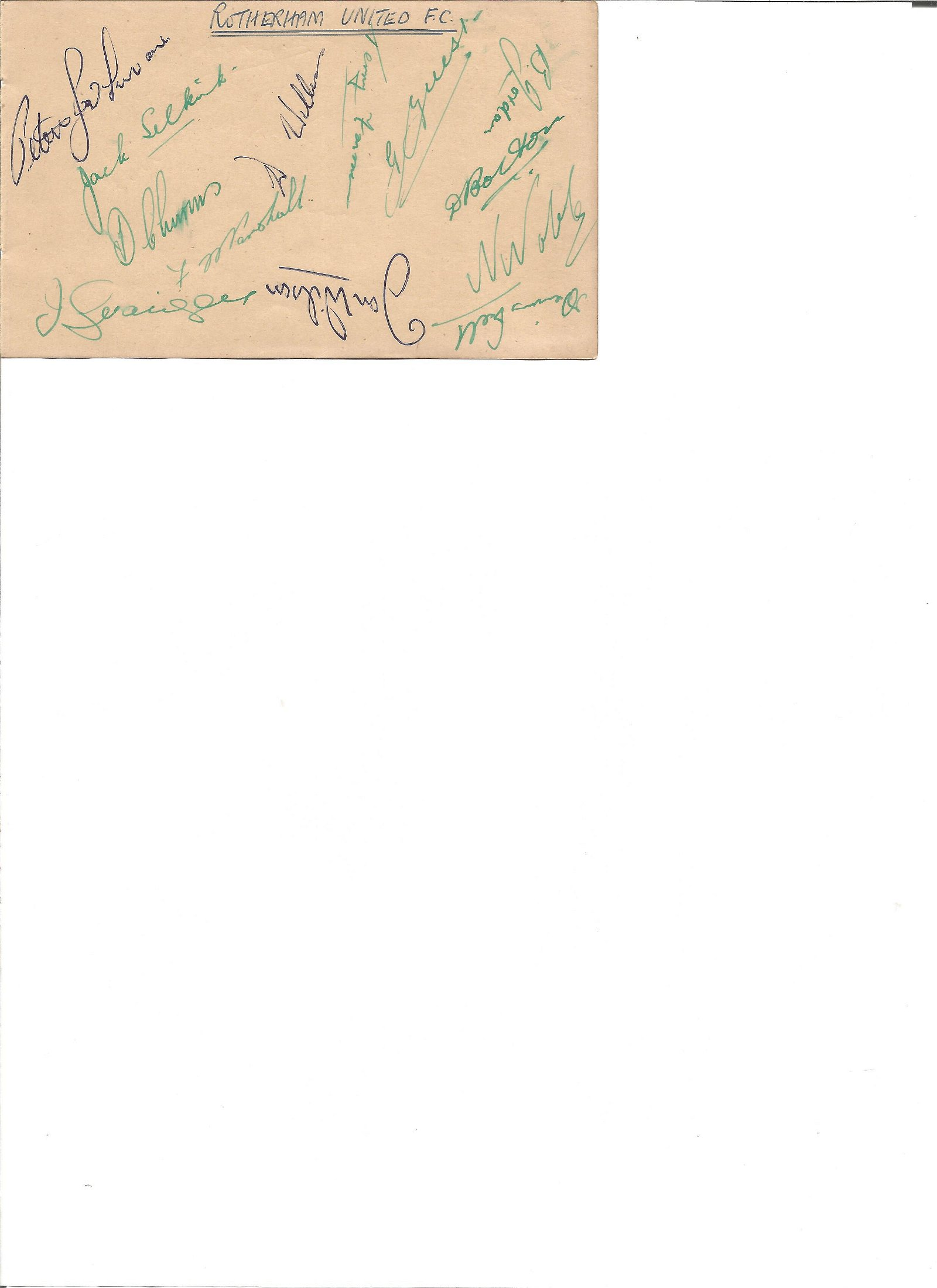 1950's Rotherham Utd signed album page. Signed by 13