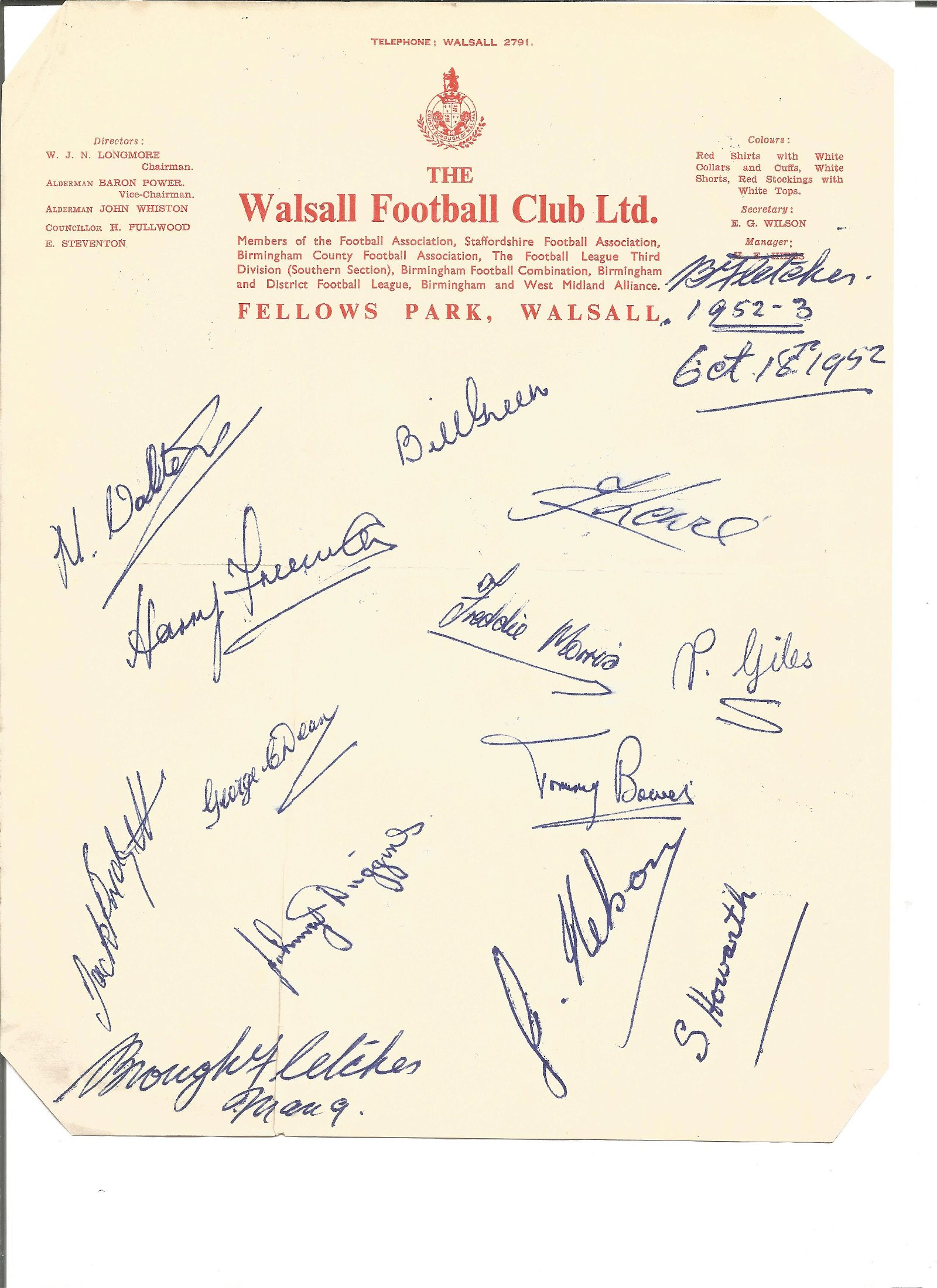 1952 Walsall FC headed sheet signed by 14 including