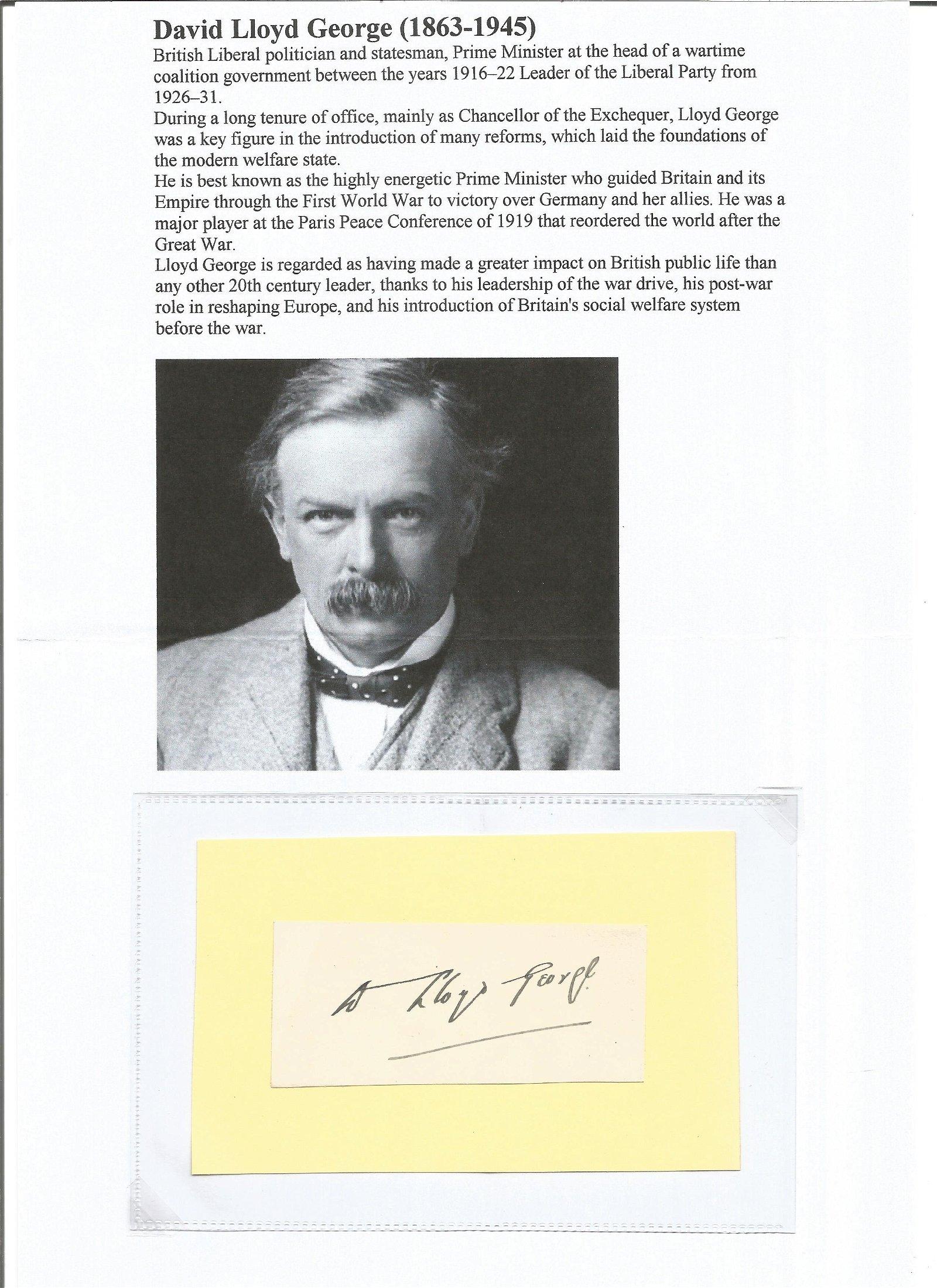 David Lloyd George 1863 1945 signature. PM between 1926