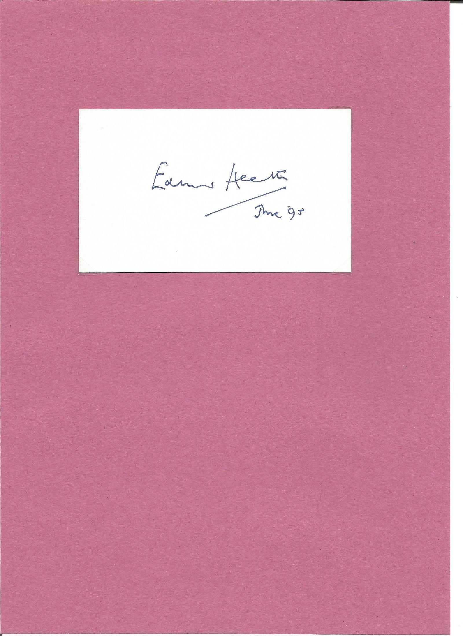 Edward Heath 1916 2005 signature piece. PM 1970 1974.