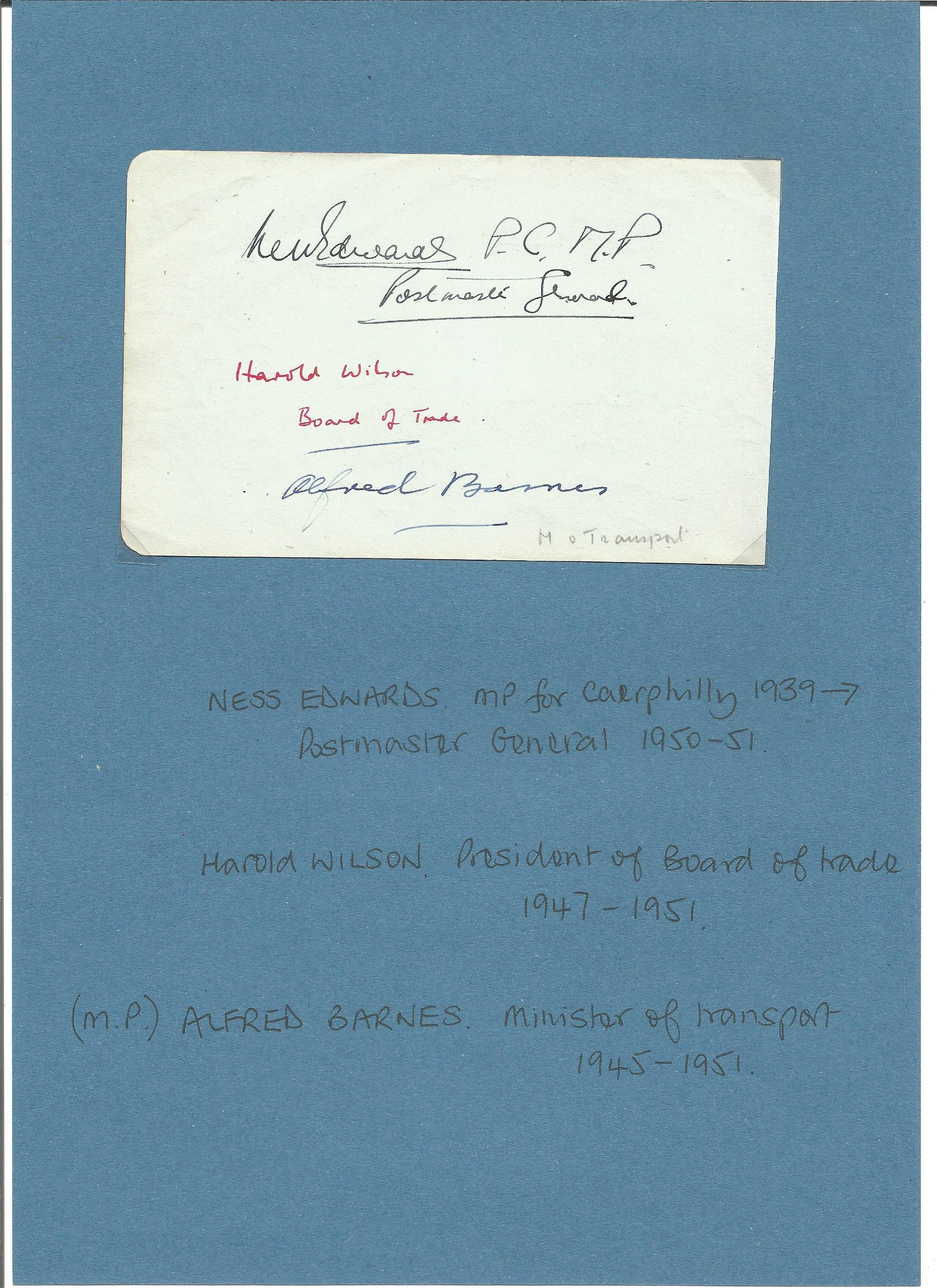Harold Wilson signed album page. Also signed by Ness
