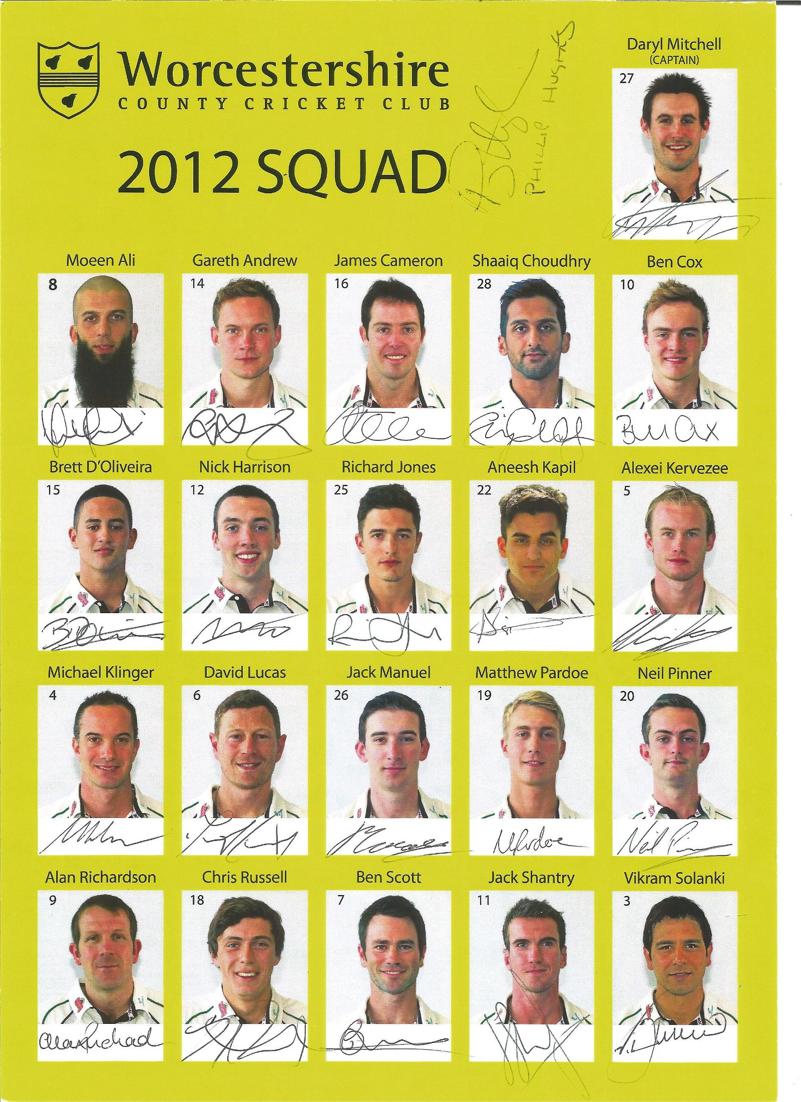 Worcestershire CCC signed 2012 team sheet. Signed by 22