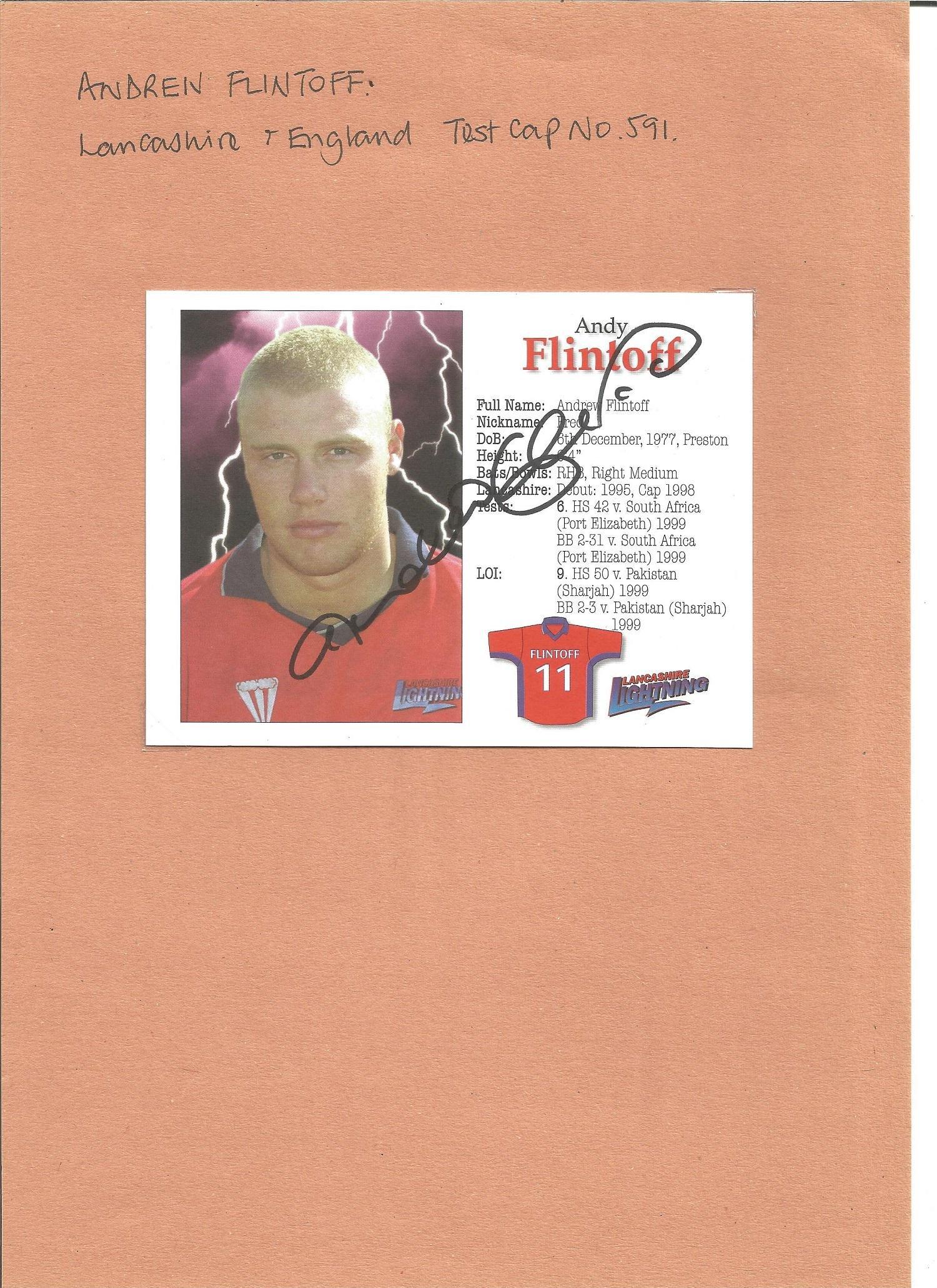 Andrew Flintoff signed 6x4 colour postcard. Good