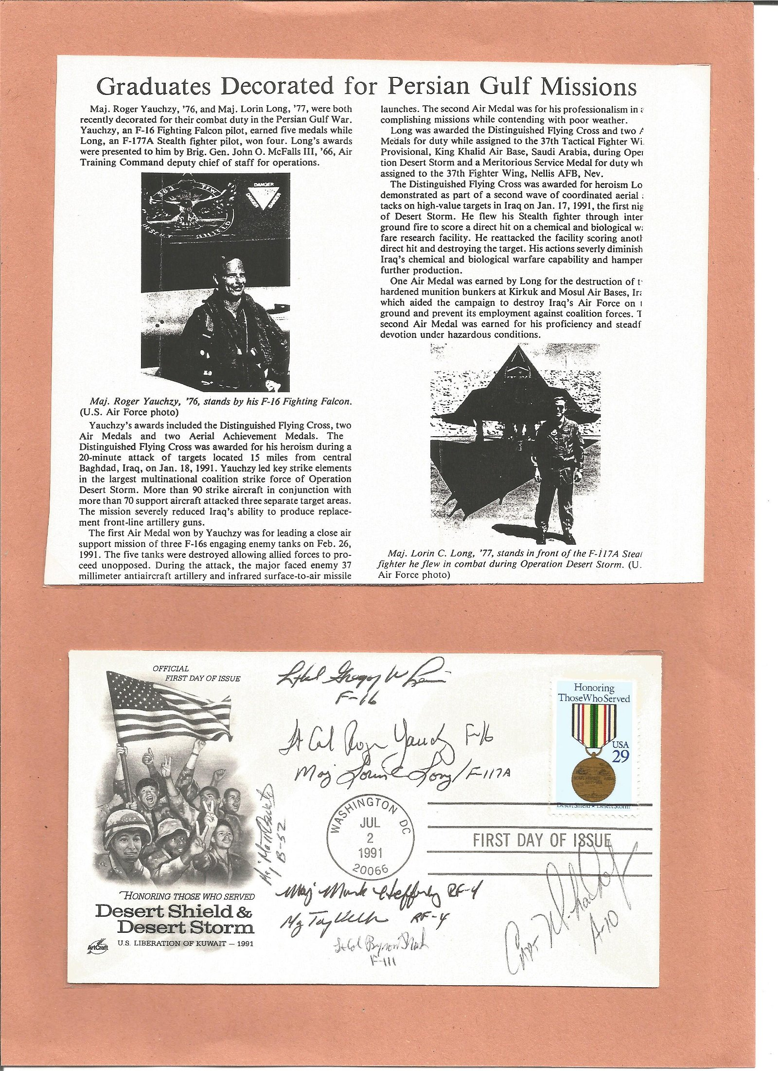 Persian Gulf USA FDI cover 1991. Signed by 8 USA air