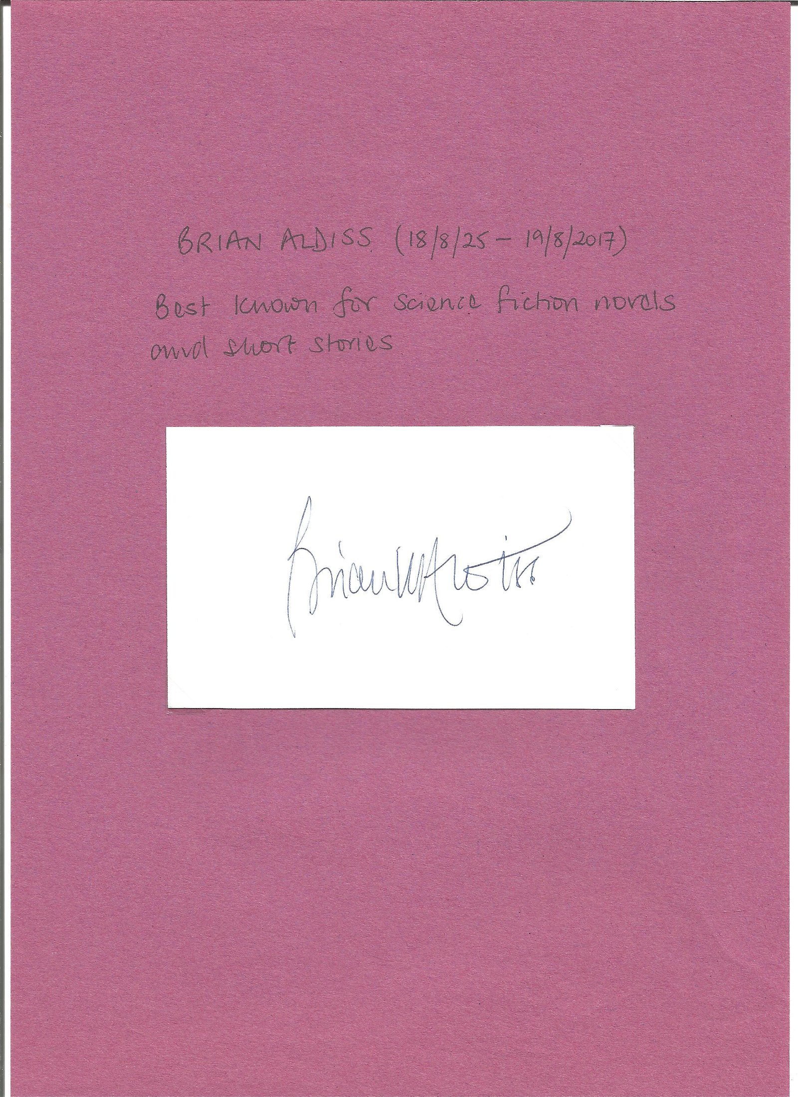 Brian Aldiss signed white card. Good Condition. All