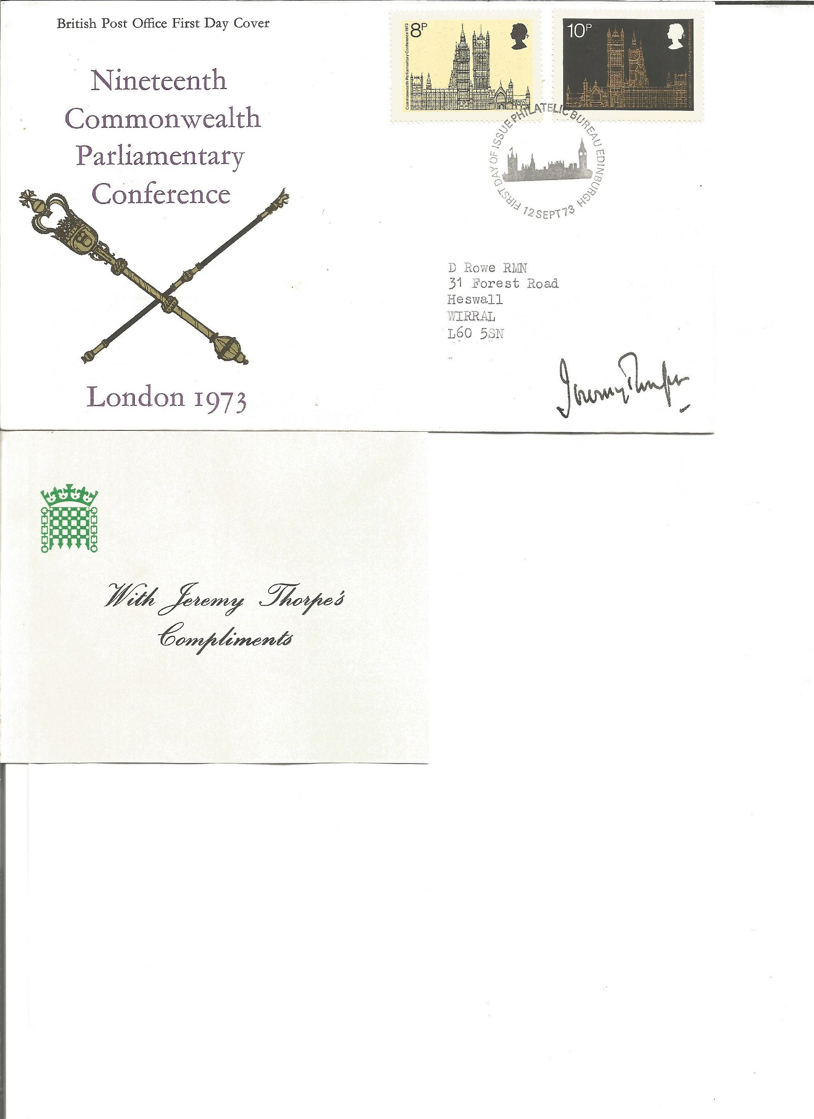 Jeremy Thorpe signed FDC. Good Condition. All signed
