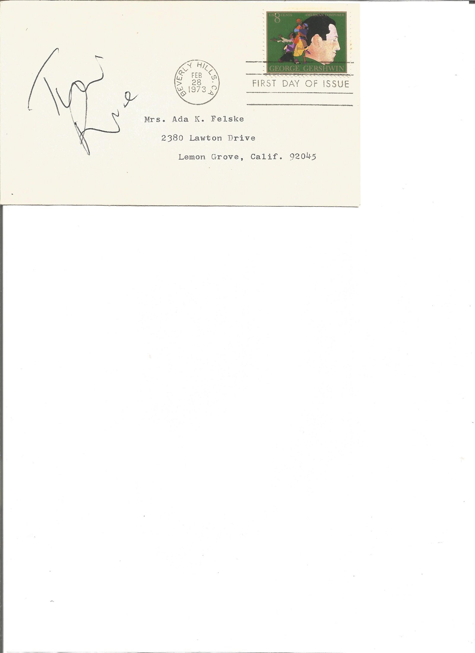 Tim Rice signed FDC. Good Condition. All signed pieces