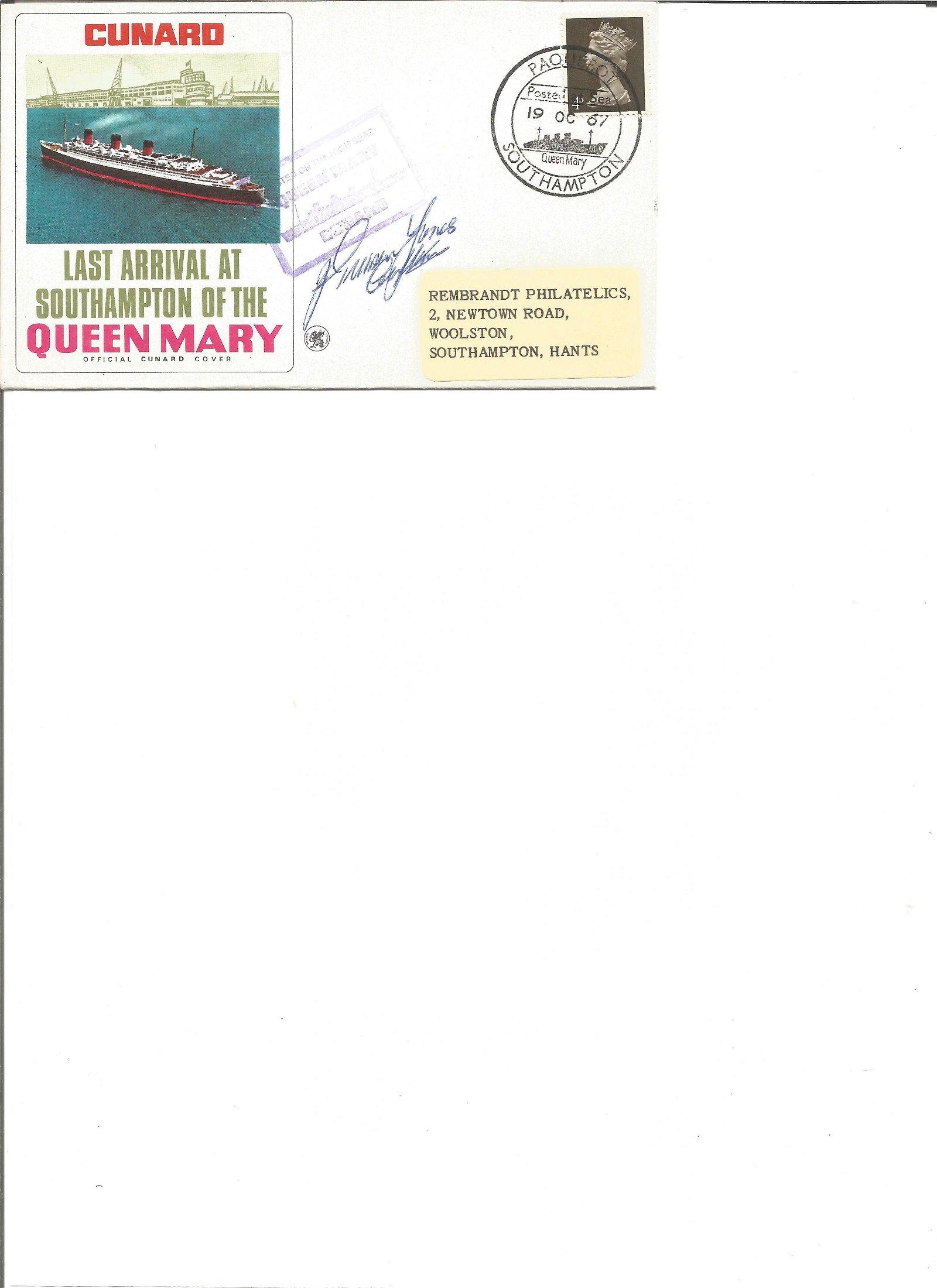 Cptn John Treasure Jones signed Cunard cover. Good