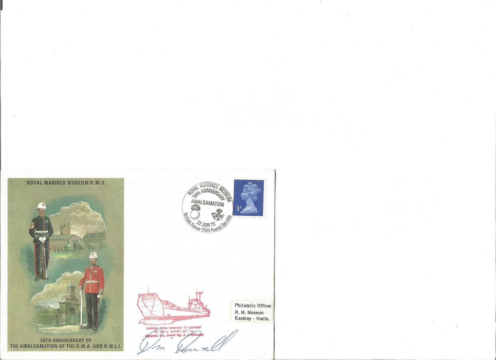 Royal Marines Museum RM3 cover signed by 1. Good